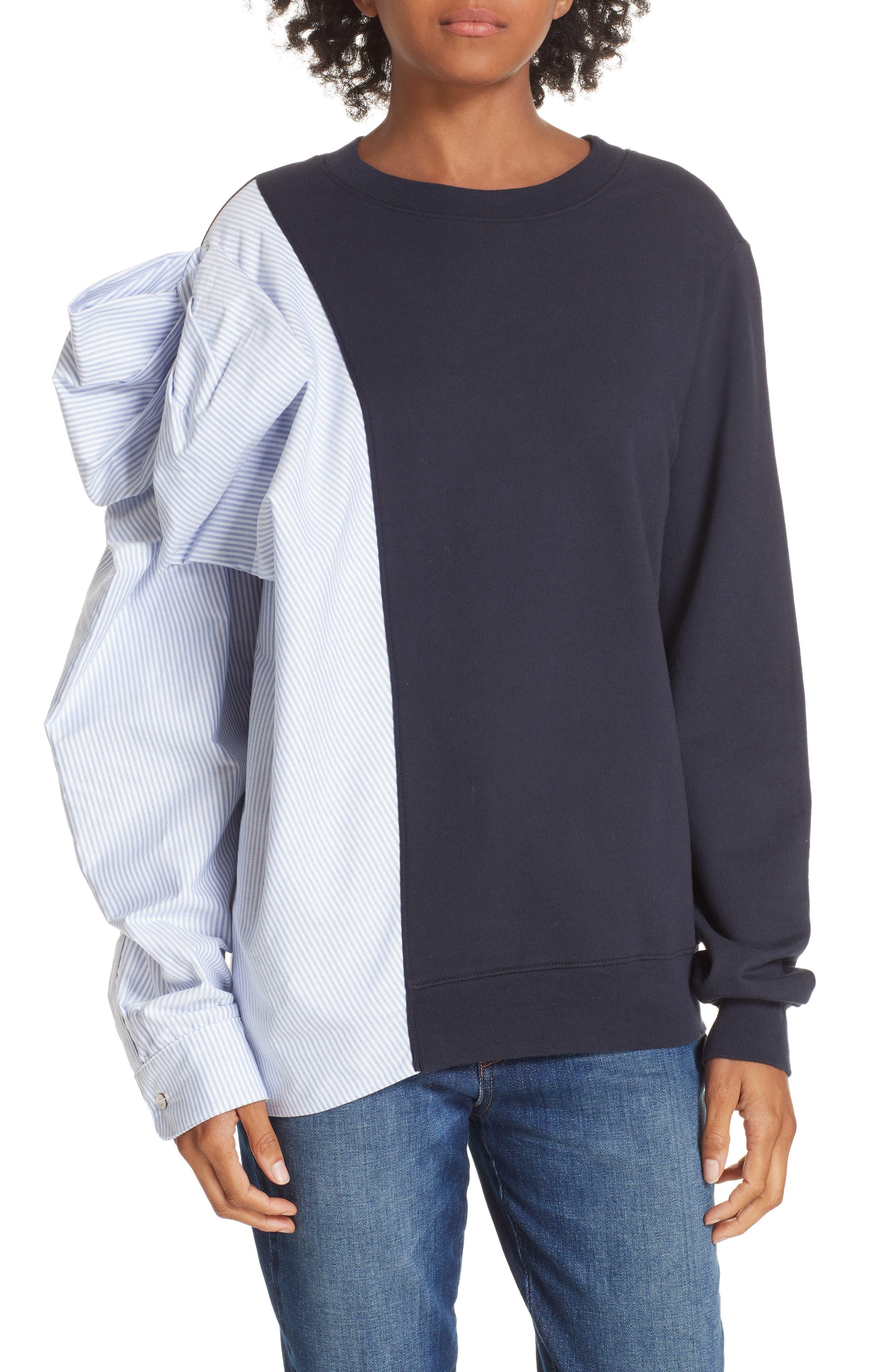 Bow Colorblock Sweatshirt,                         Main,                         color, NAVY