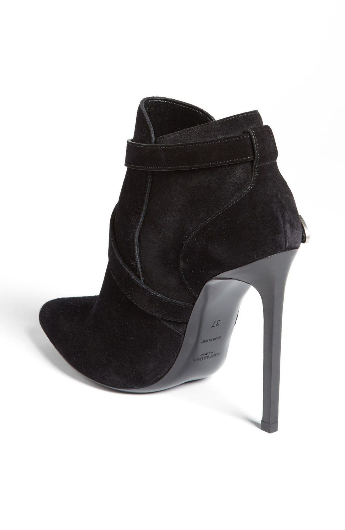 SAINT LAURENT,                             'Paris' Buckle Bootie,                             Alternate thumbnail 3, color,                             001