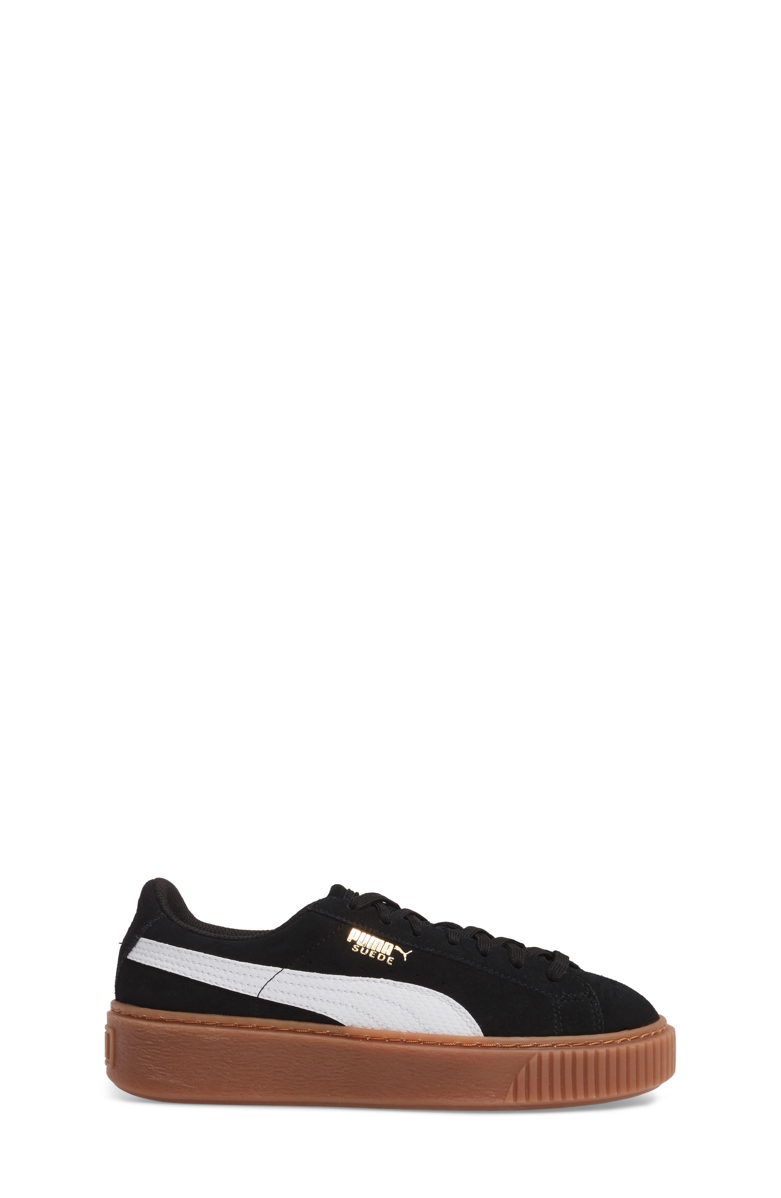 Suede Platform Jr Sneaker,                             Alternate thumbnail 3, color,                             001