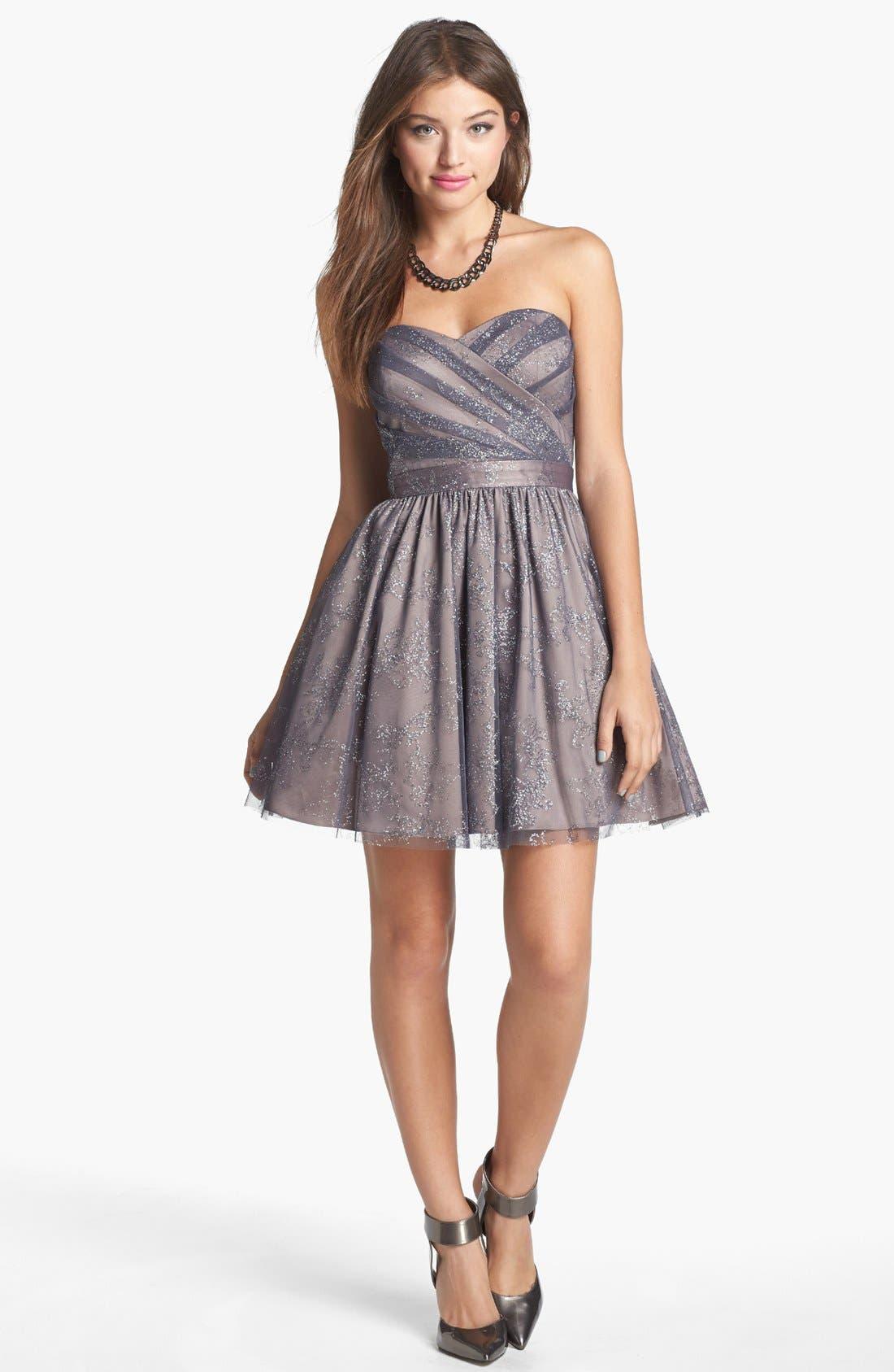 Metallic Mesh Fit & Flare Dress,                         Main,                         color, 065