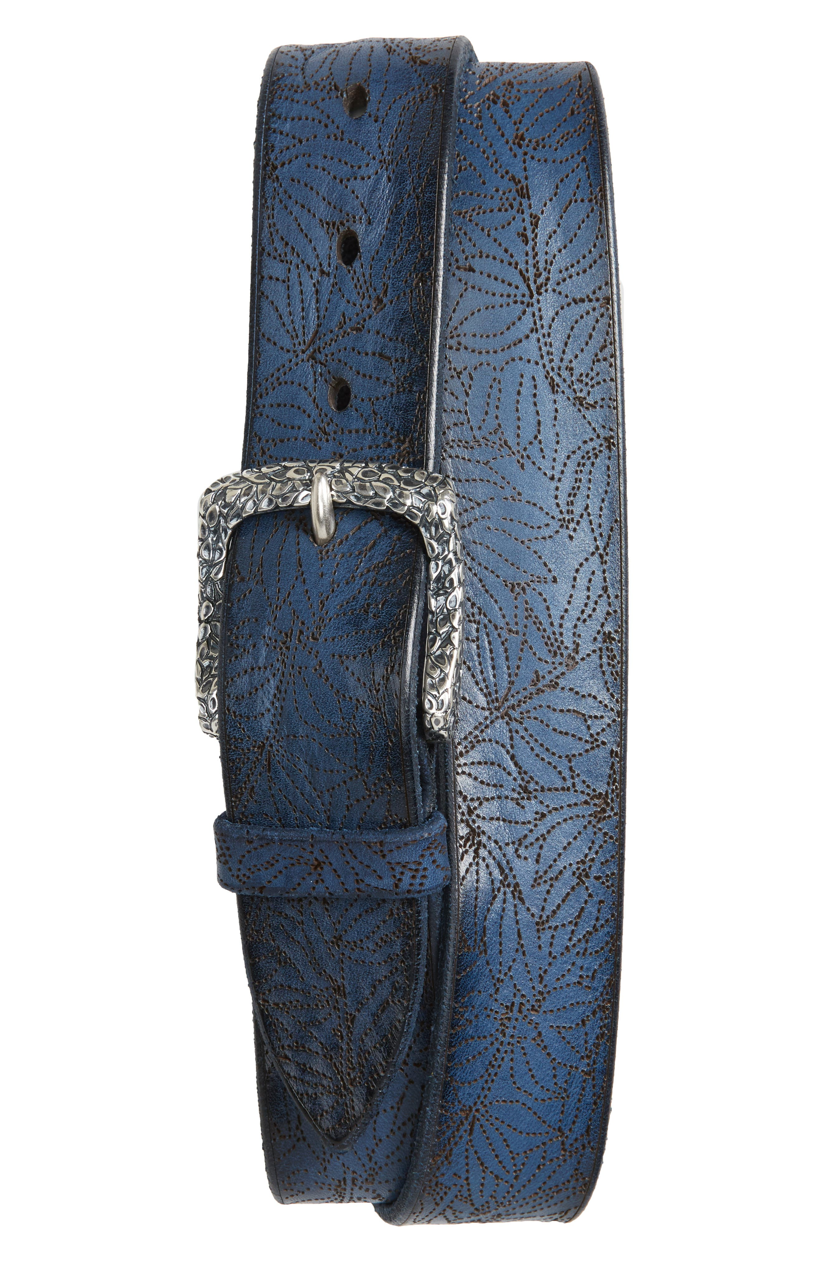 Stain Perforated Leather Belt,                         Main,                         color,