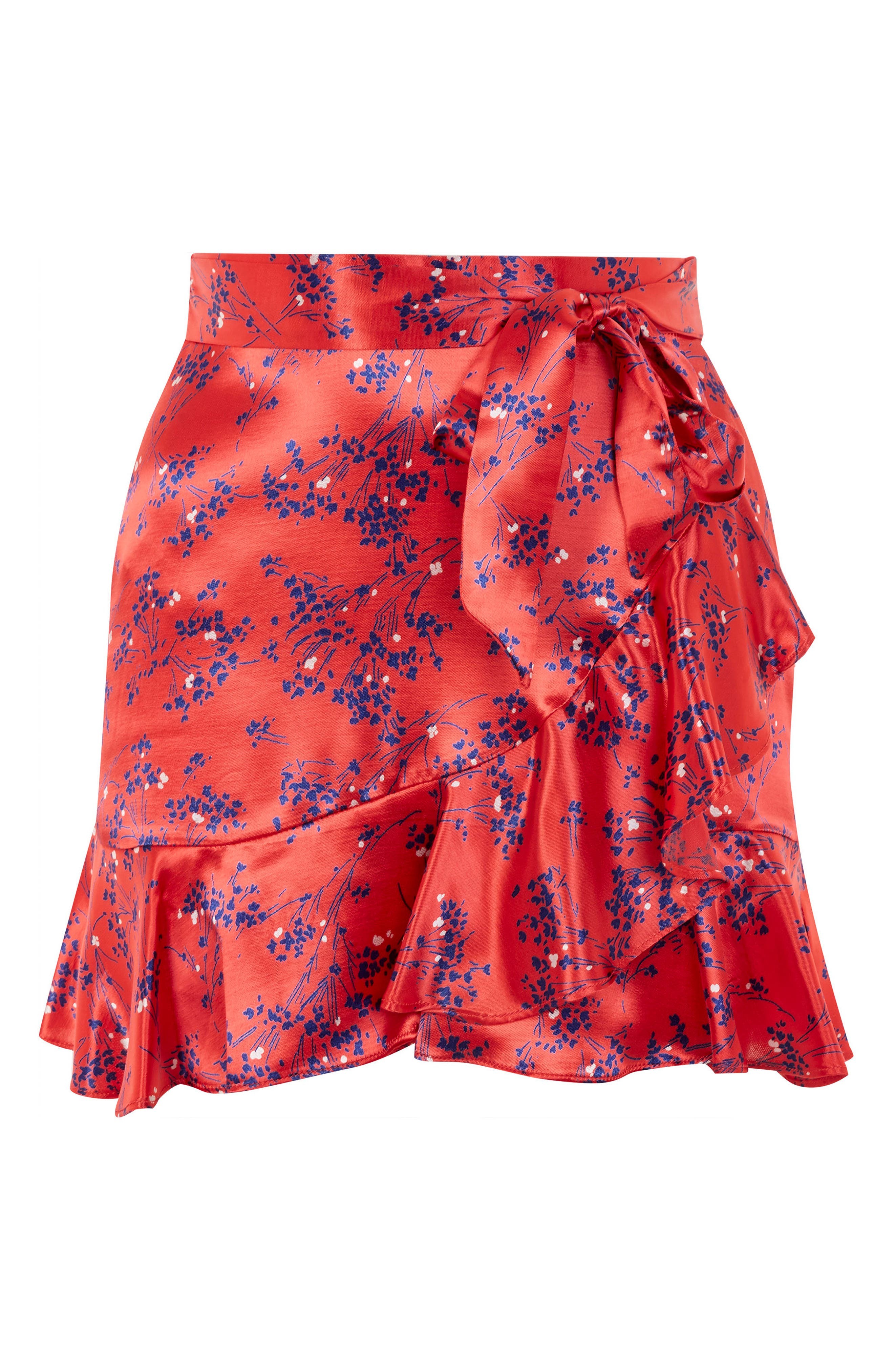 Floral Print Miniskirt,                             Alternate thumbnail 3, color,                             600