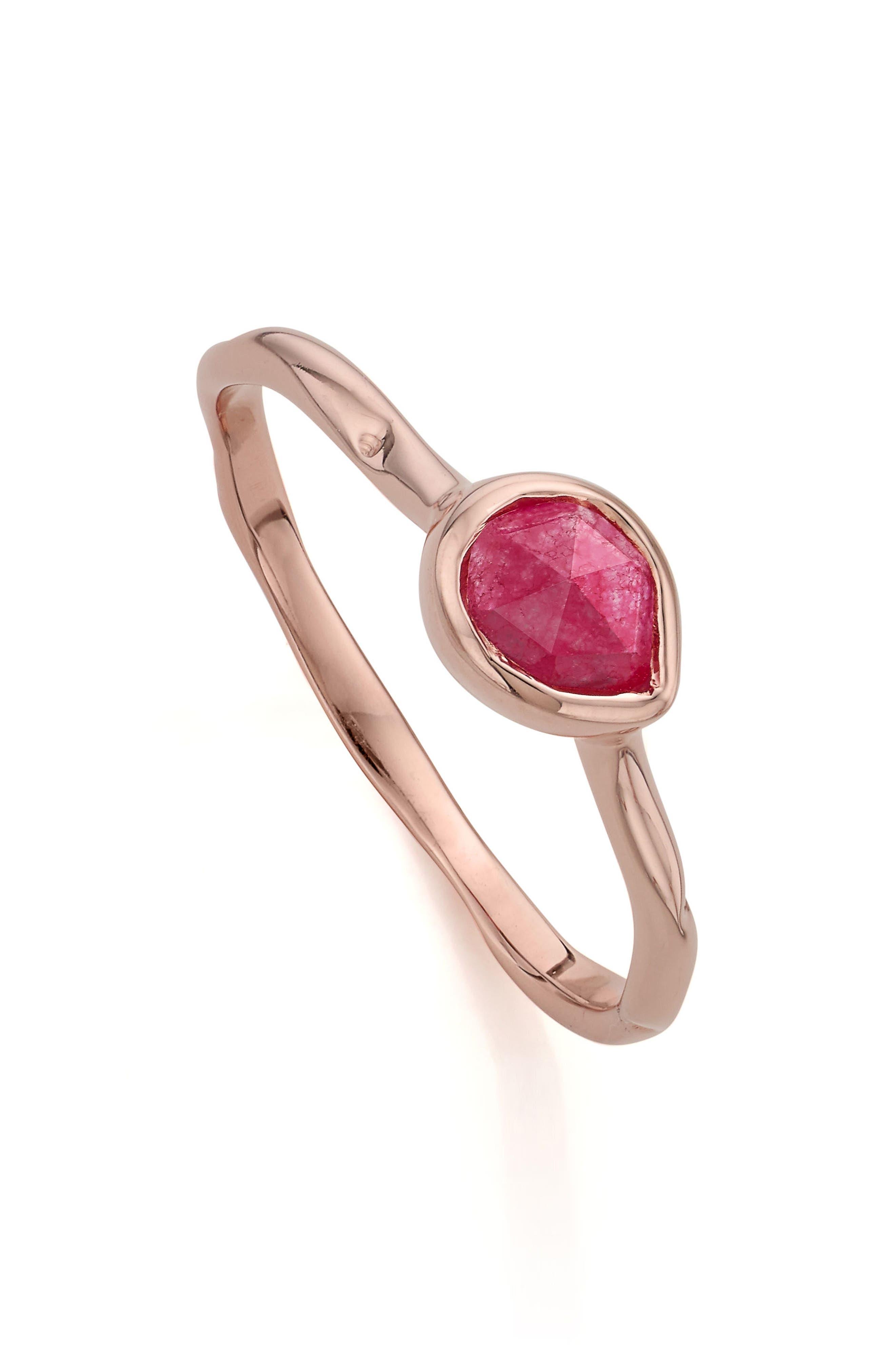 'Siren' Small Stacking Ring,                             Alternate thumbnail 2, color,                             PINK QUARTZ/ ROSE GOLD