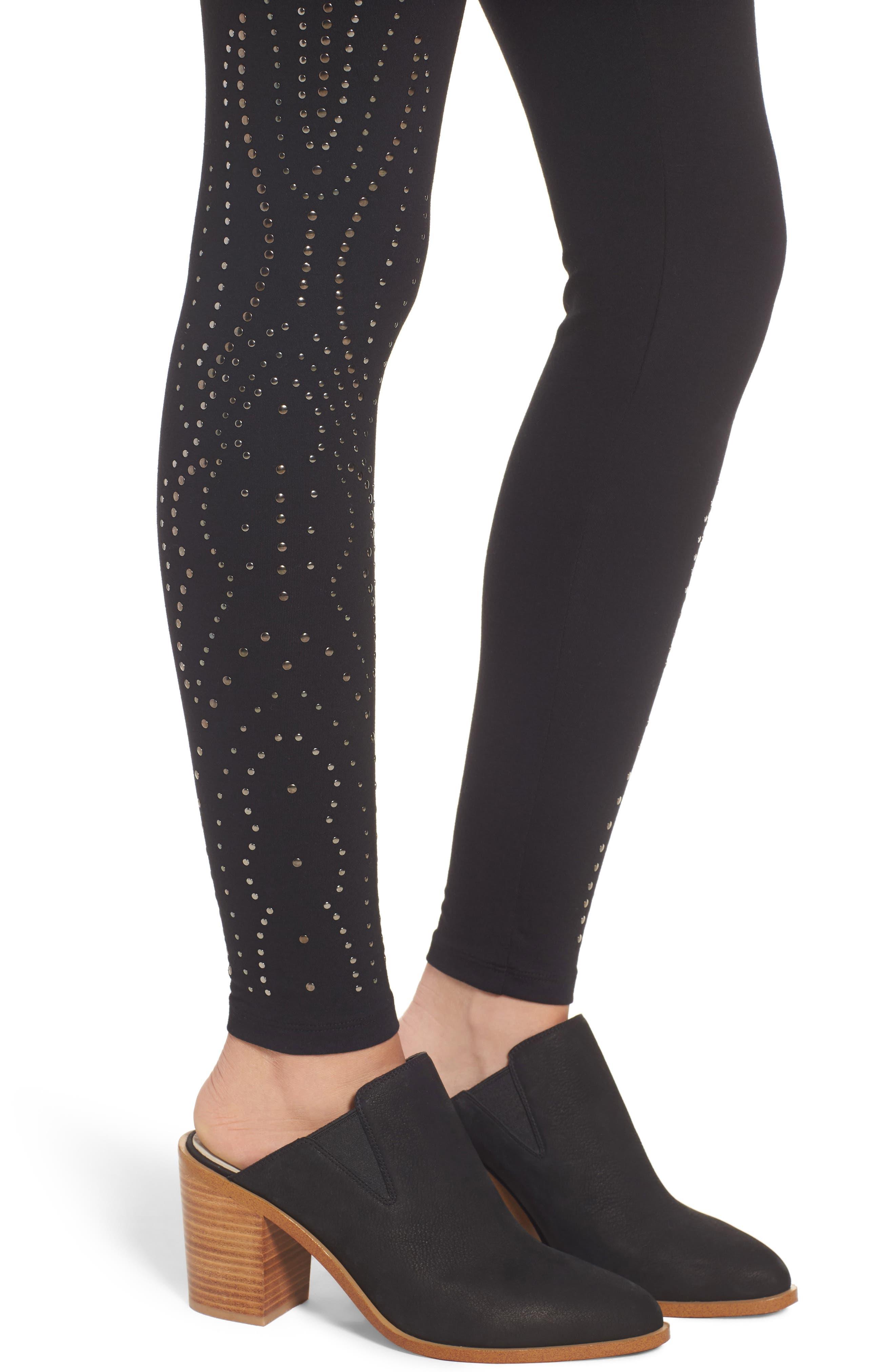 Studded Leggings,                             Alternate thumbnail 4, color,                             001