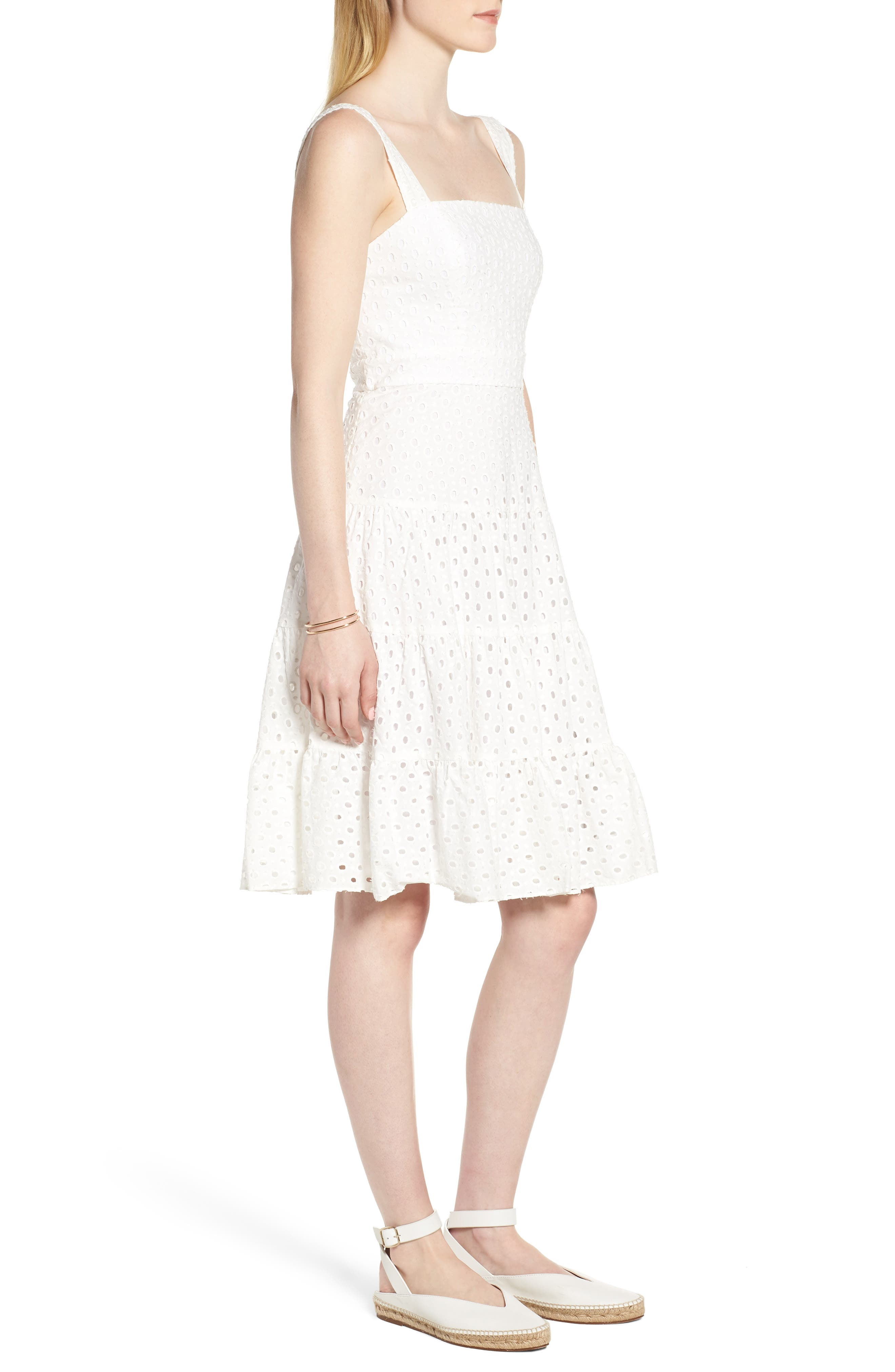 Eyelet Fit & Flare Dress,                             Alternate thumbnail 3, color,                             100