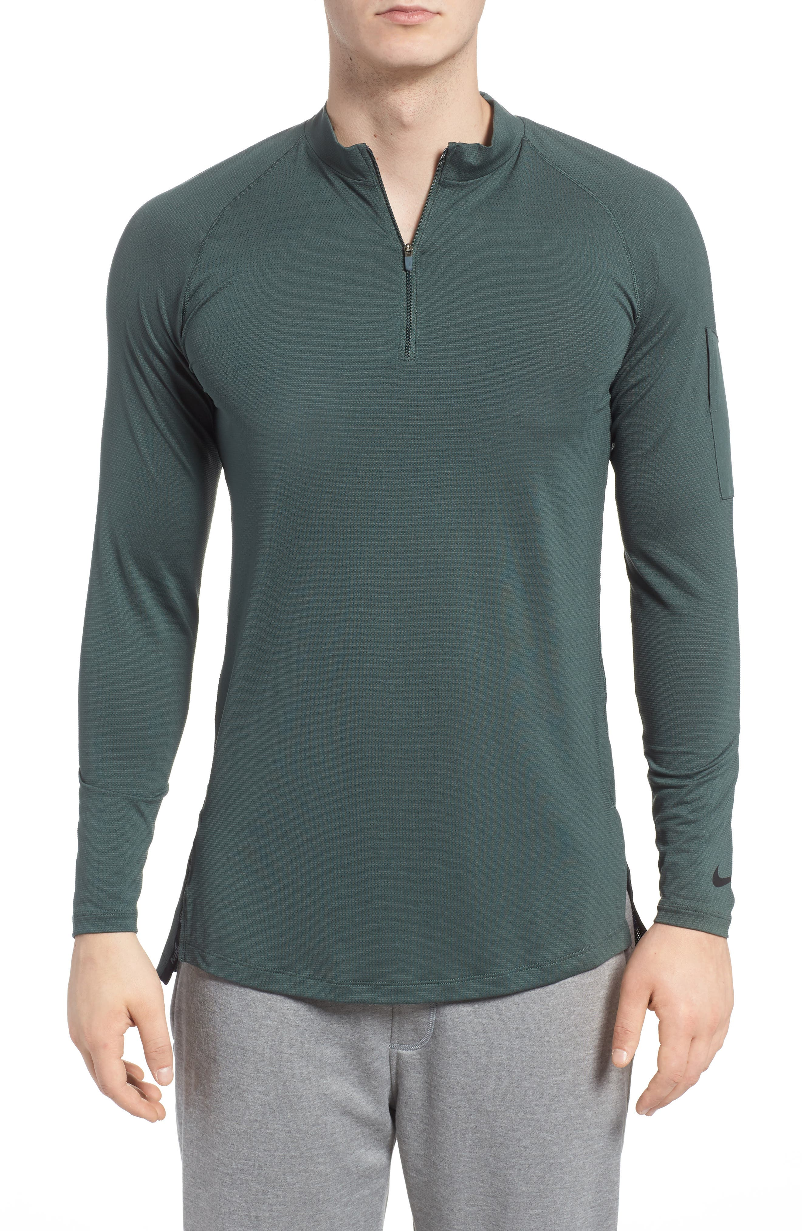 NIKE,                             Pro Fitted Utility Dry Tech Sport Top,                             Main thumbnail 1, color,                             VINTAGE GREEN/ BLACK