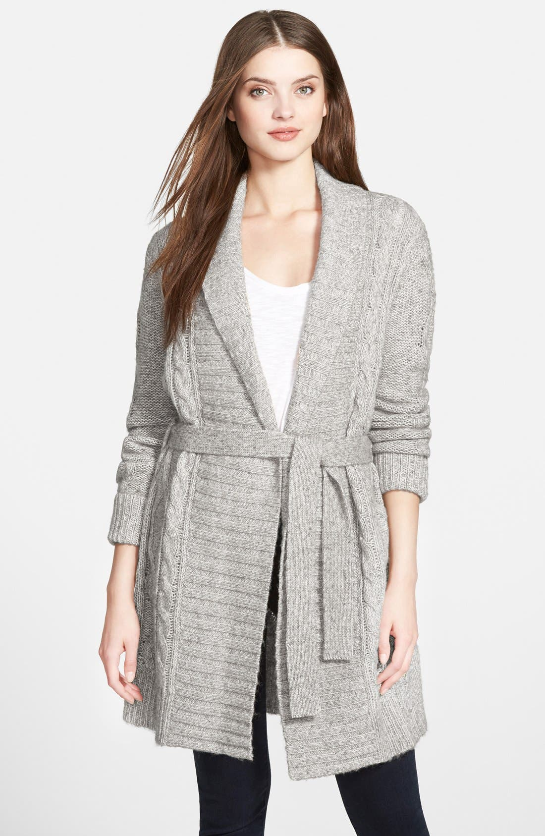 Belted Cable Knit Cardigan, Main, color, 054