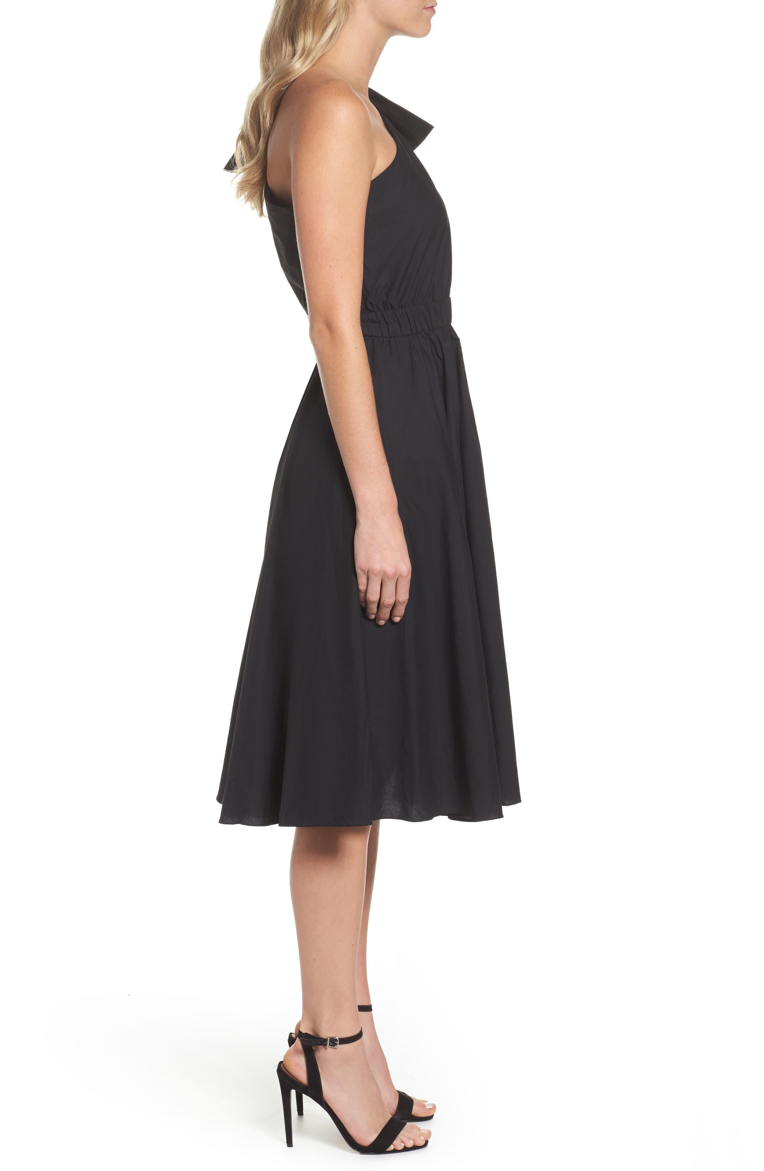 One-Shoulder Fit & Flare Dress,                             Alternate thumbnail 3, color,                             001