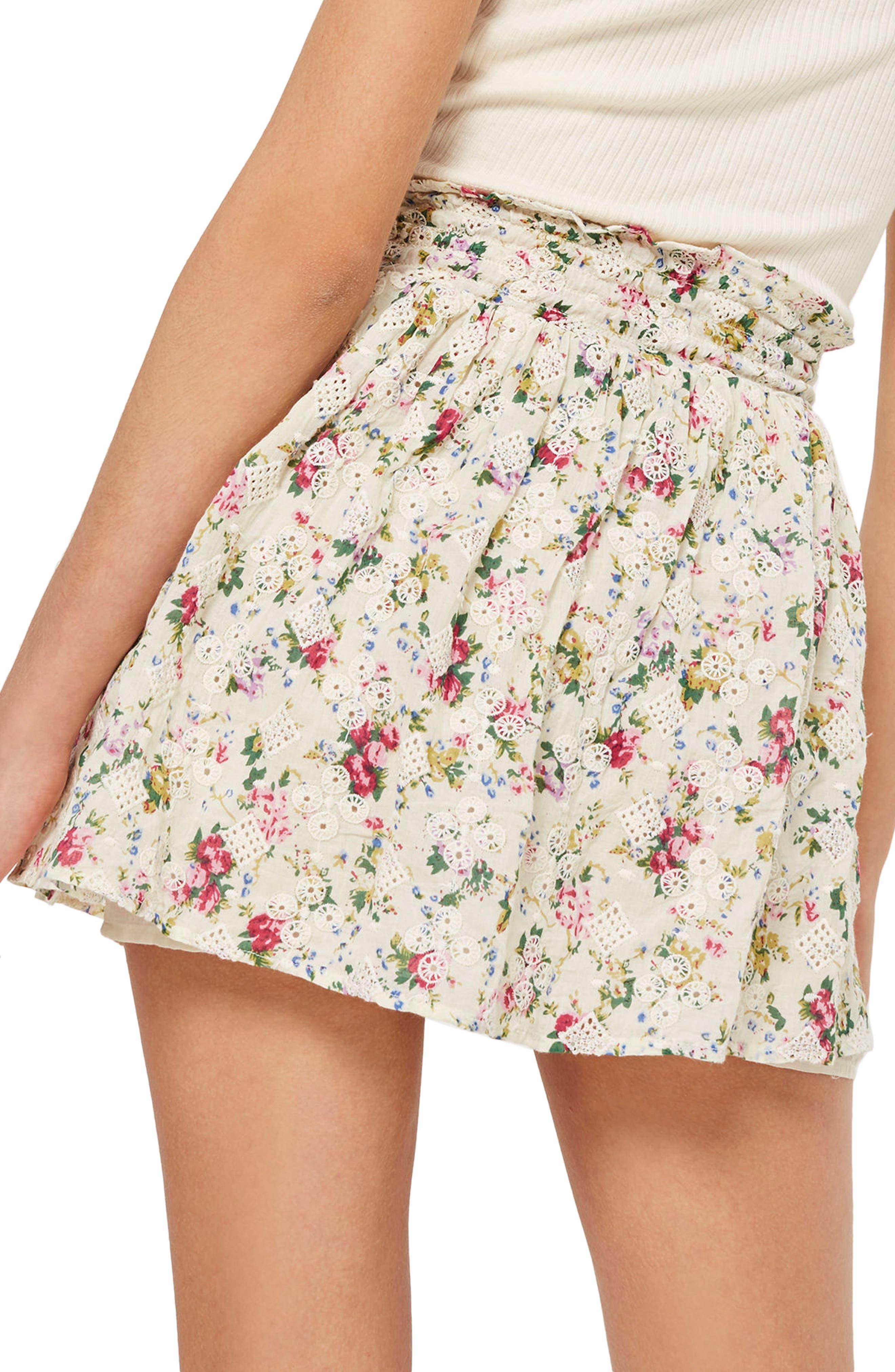 Broderie Print Miniskirt,                             Alternate thumbnail 2, color,                             900
