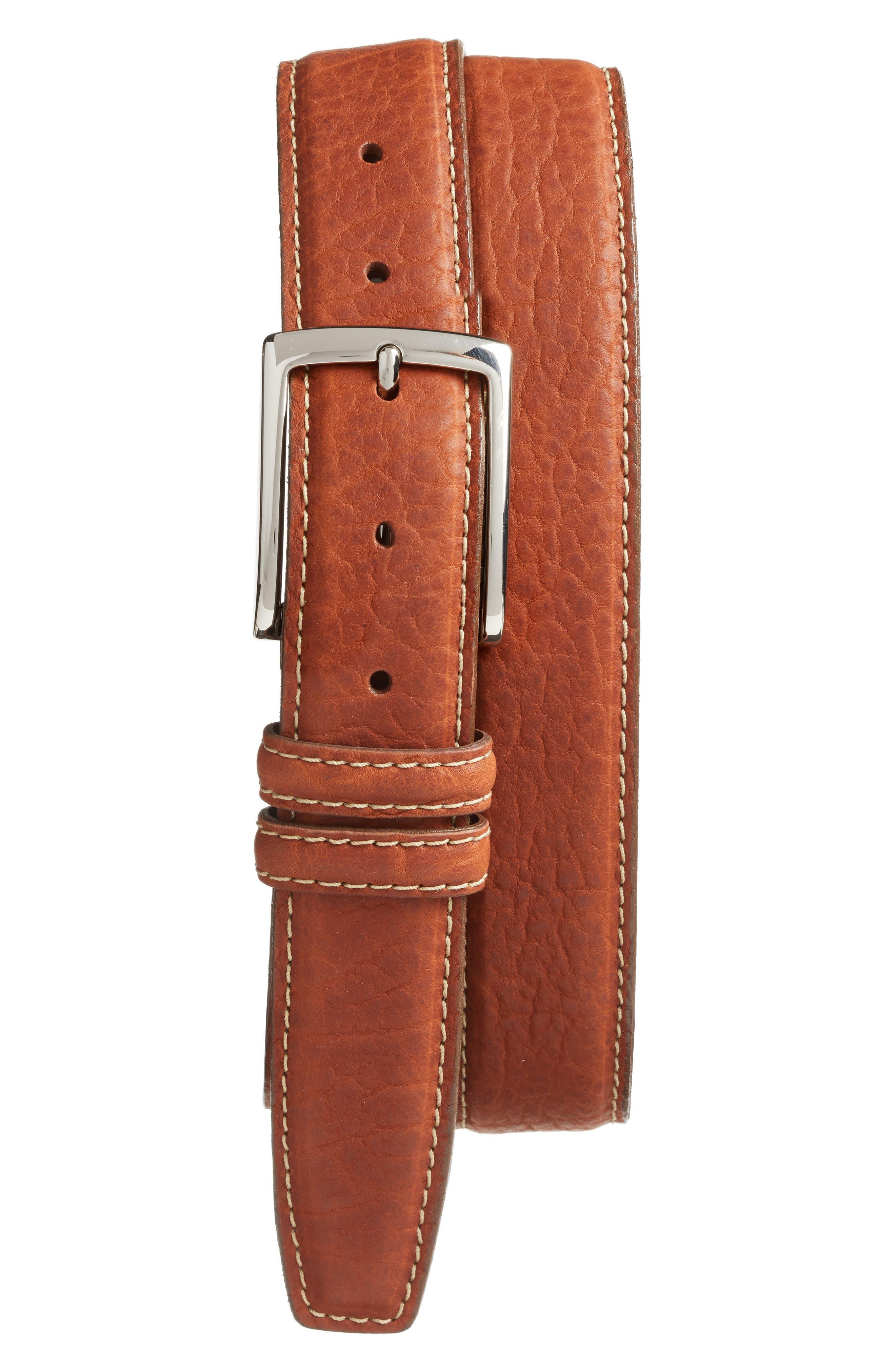 Leather Belt,                         Main,                         color, TAN BROWN