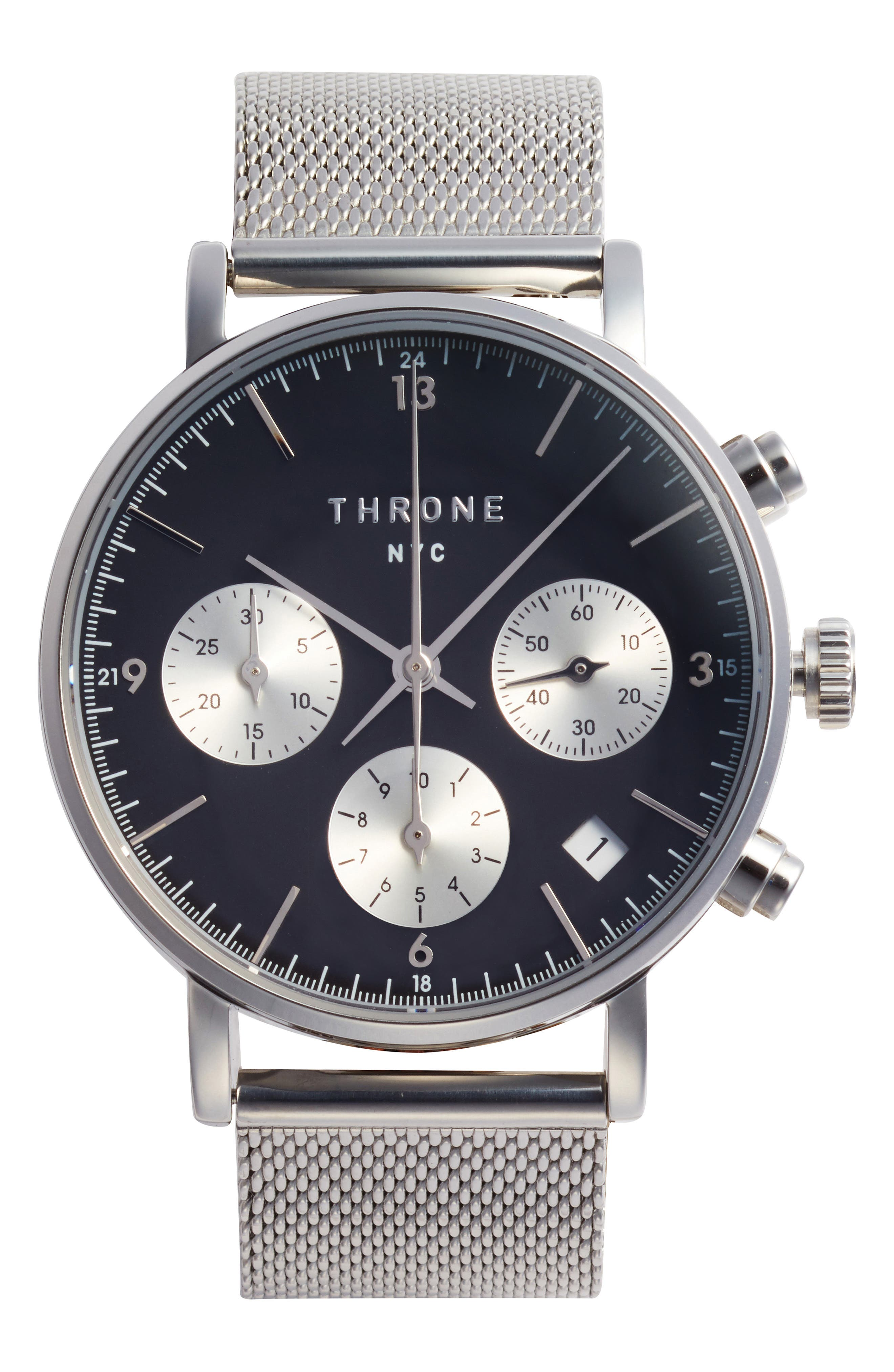 THRONE 2.0 Chronograph Mesh Strap Watch, 40mm, Main, color, SILVER/ BLACK