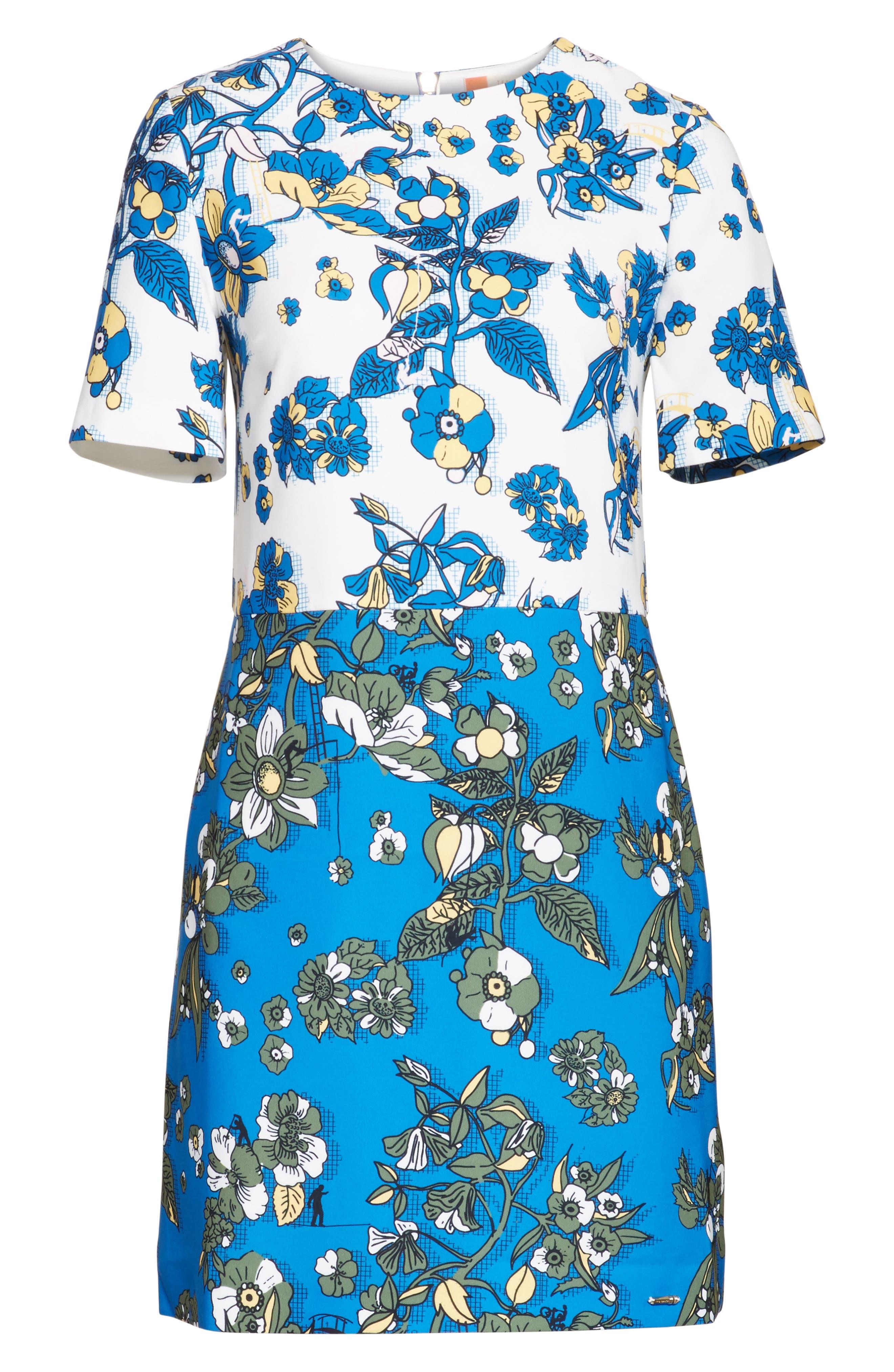 Colorblock Floral Shift Dress,                             Alternate thumbnail 6, color,                             402