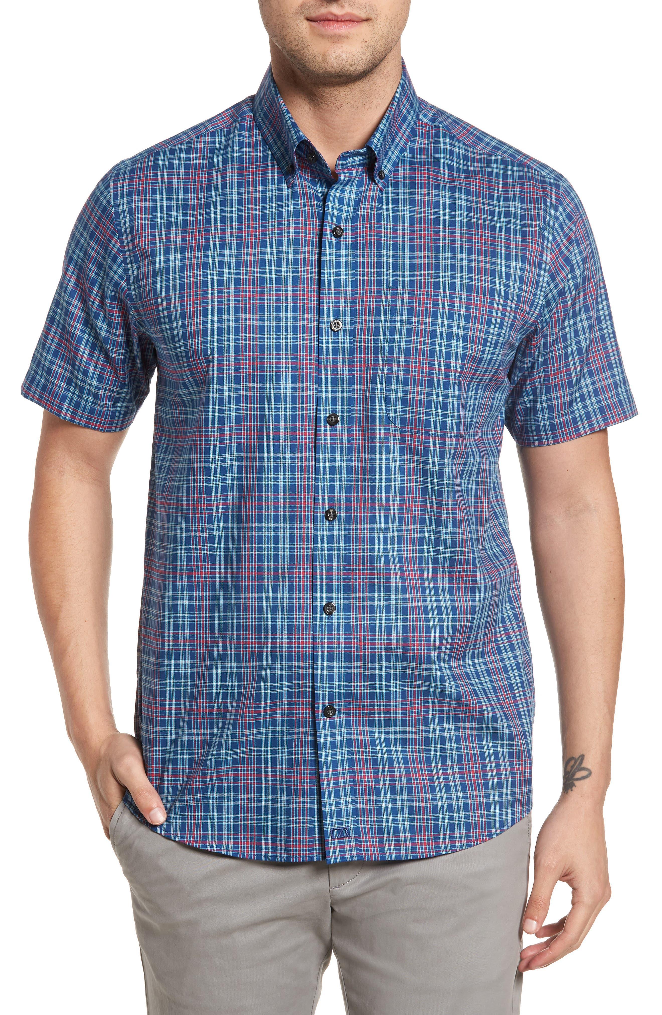 Isaac Plaid Easy Care Woven Shirt,                             Main thumbnail 3, color,