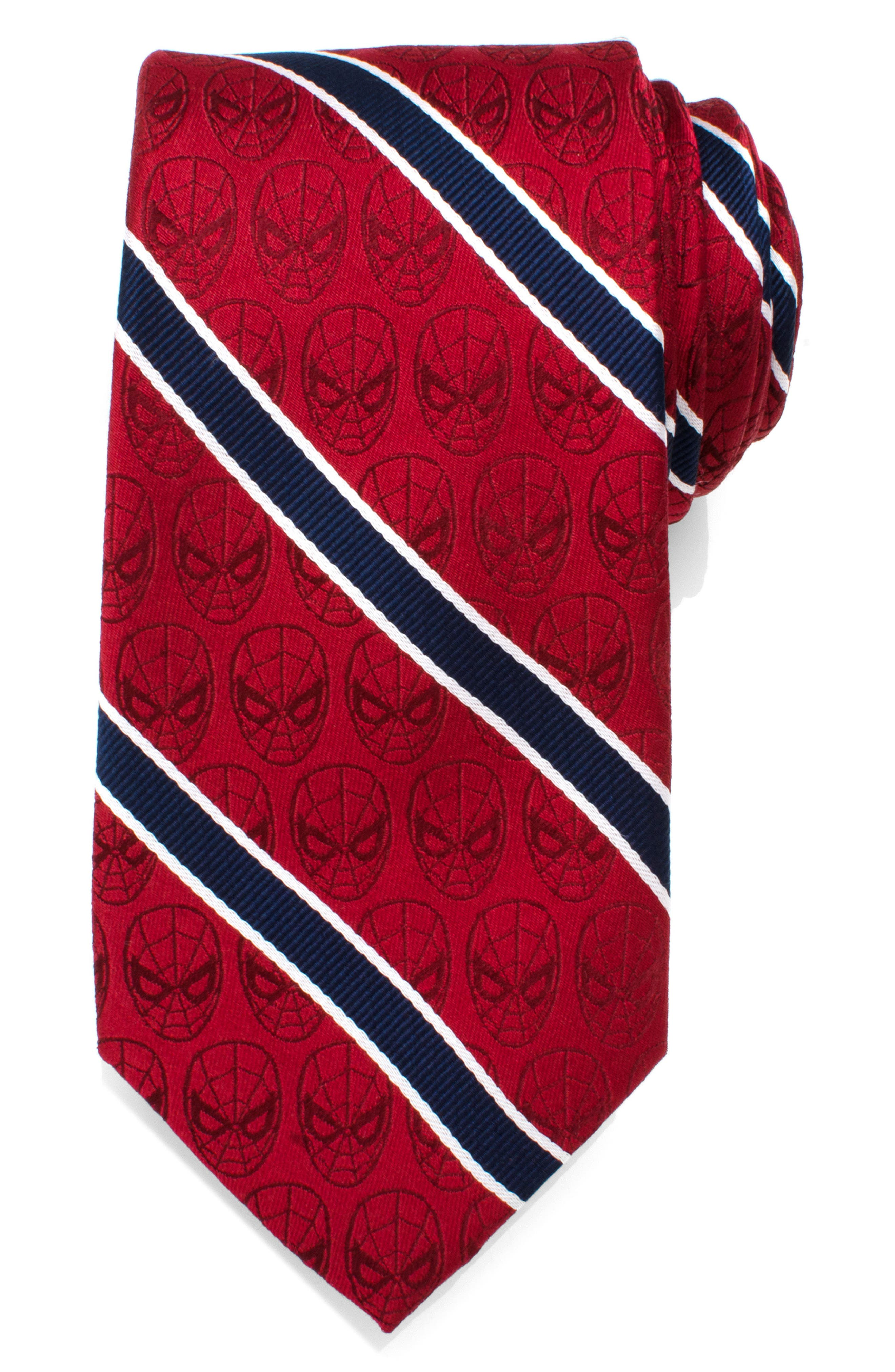 Spiderman Stripe Silk Tie,                             Main thumbnail 1, color,                             RED