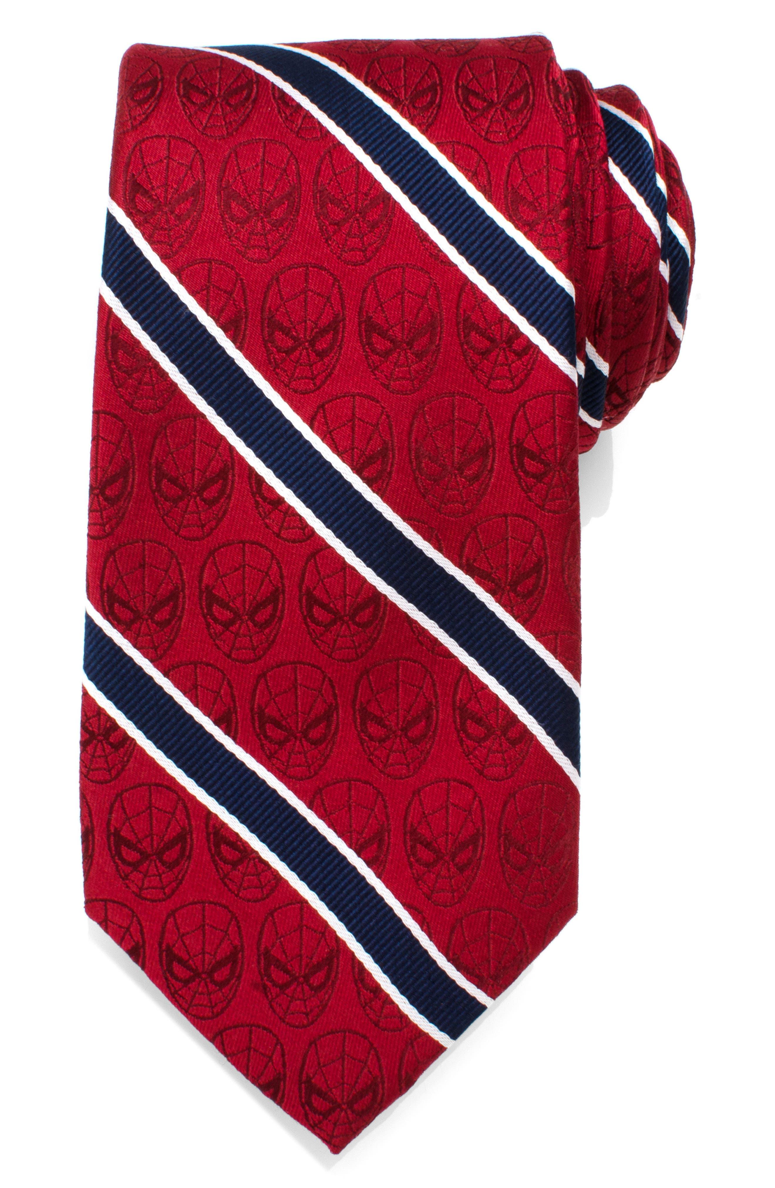 Spiderman Stripe Silk Tie,                         Main,                         color, RED