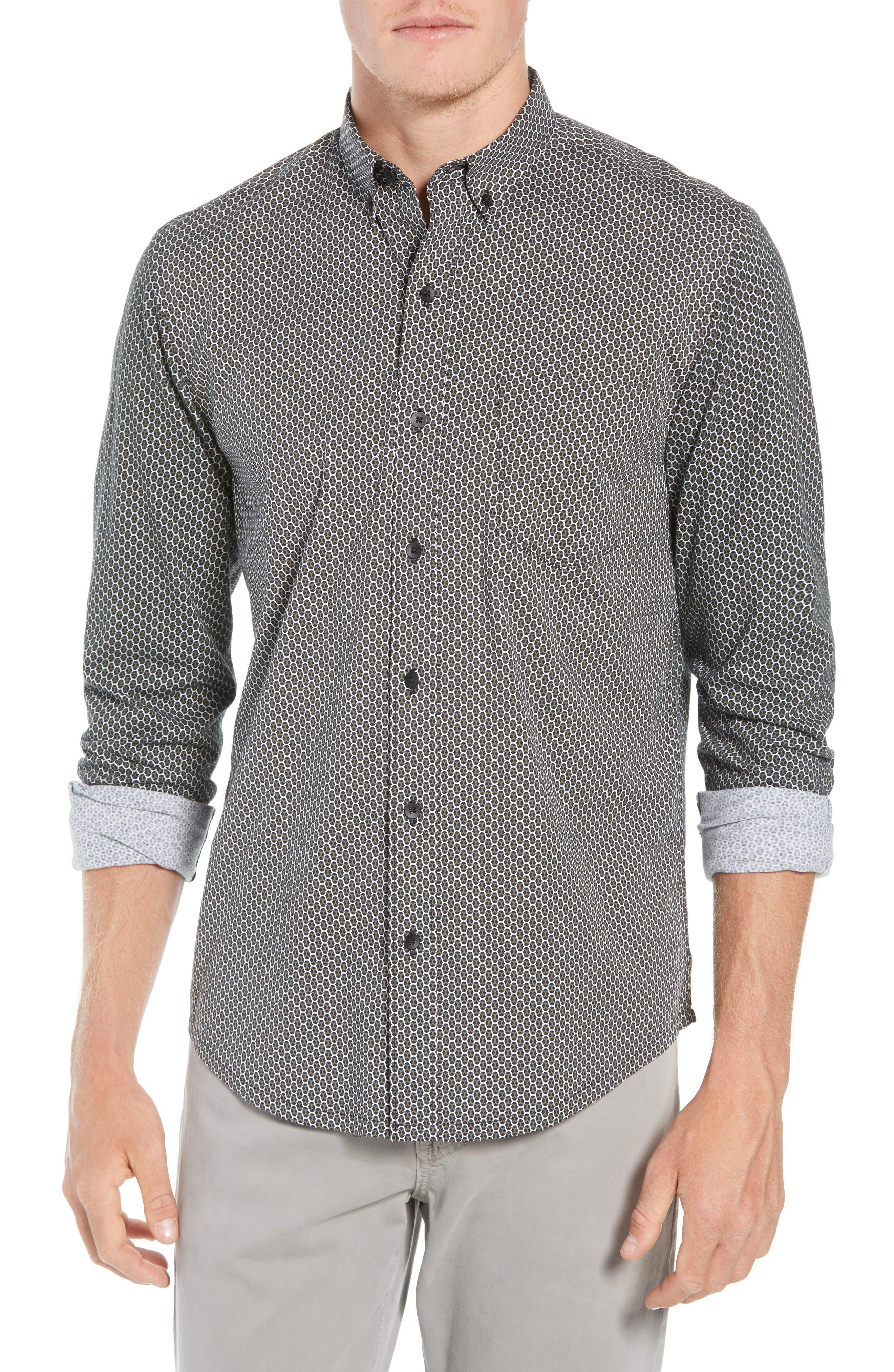 Reworked Slim Fit Print Sport Shirt,                             Main thumbnail 1, color,                             BLACK/ GREEN