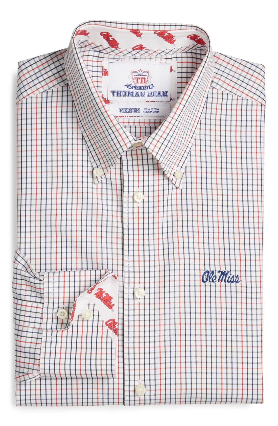 'Ole Miss Rebels' Regular Fit Long Sleeve Tattersall Sport Shirt,                             Alternate thumbnail 6, color,                             600