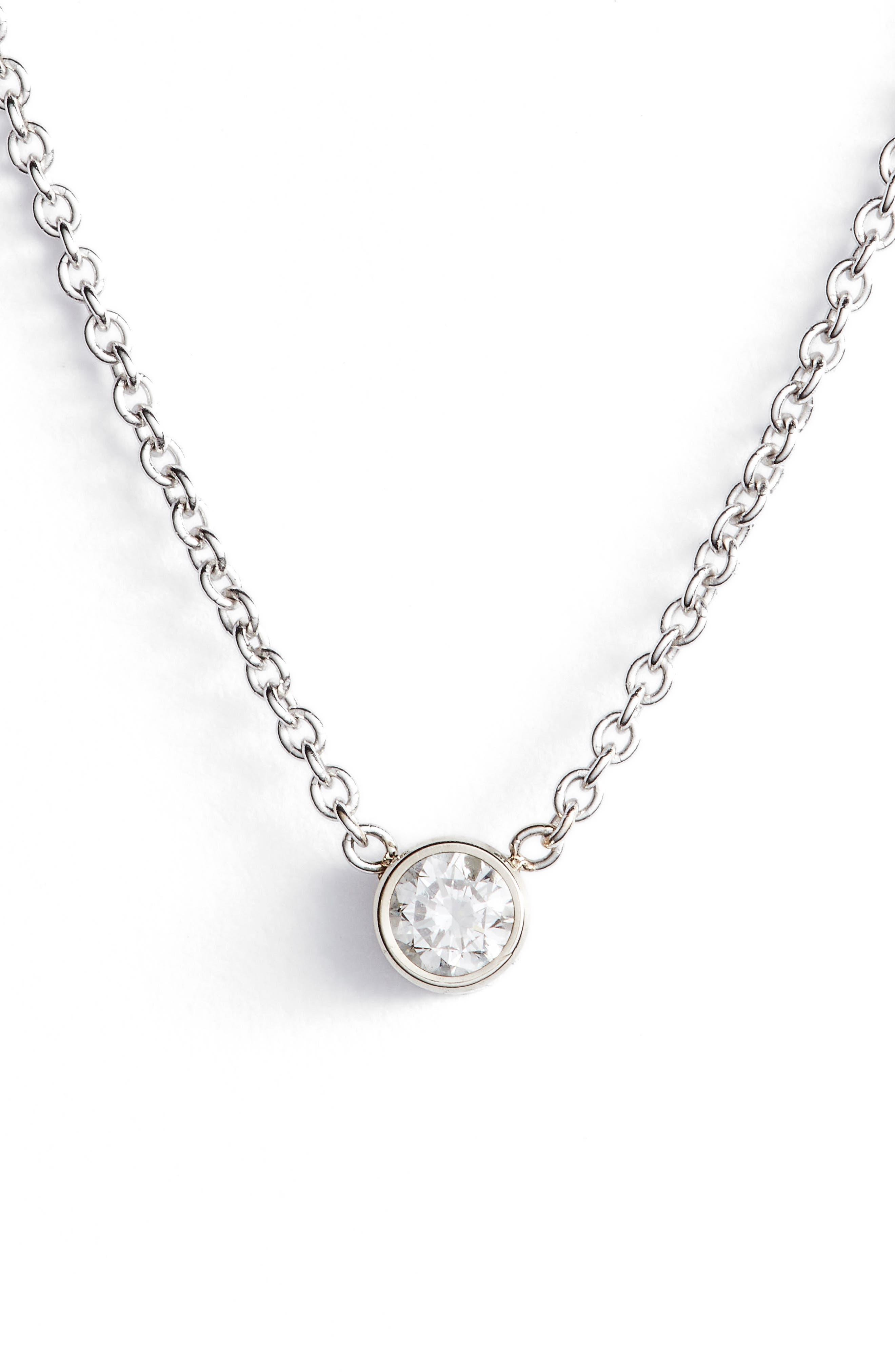 Diamond Bezel Pendant Necklace,                             Main thumbnail 1, color,                             WHITE GOLD