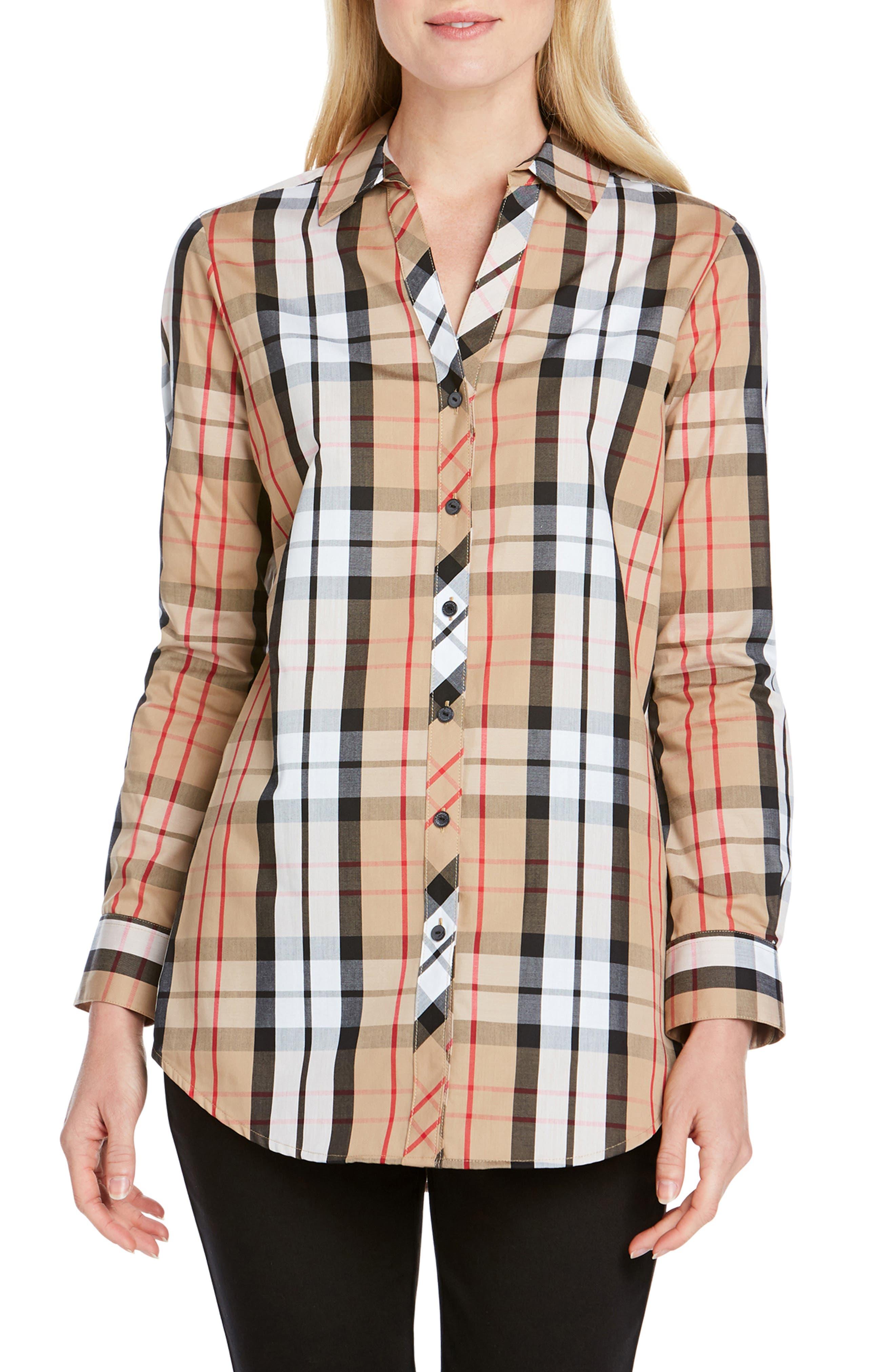 Foxcroft Faith Anderson Tartan Shirt, Beige