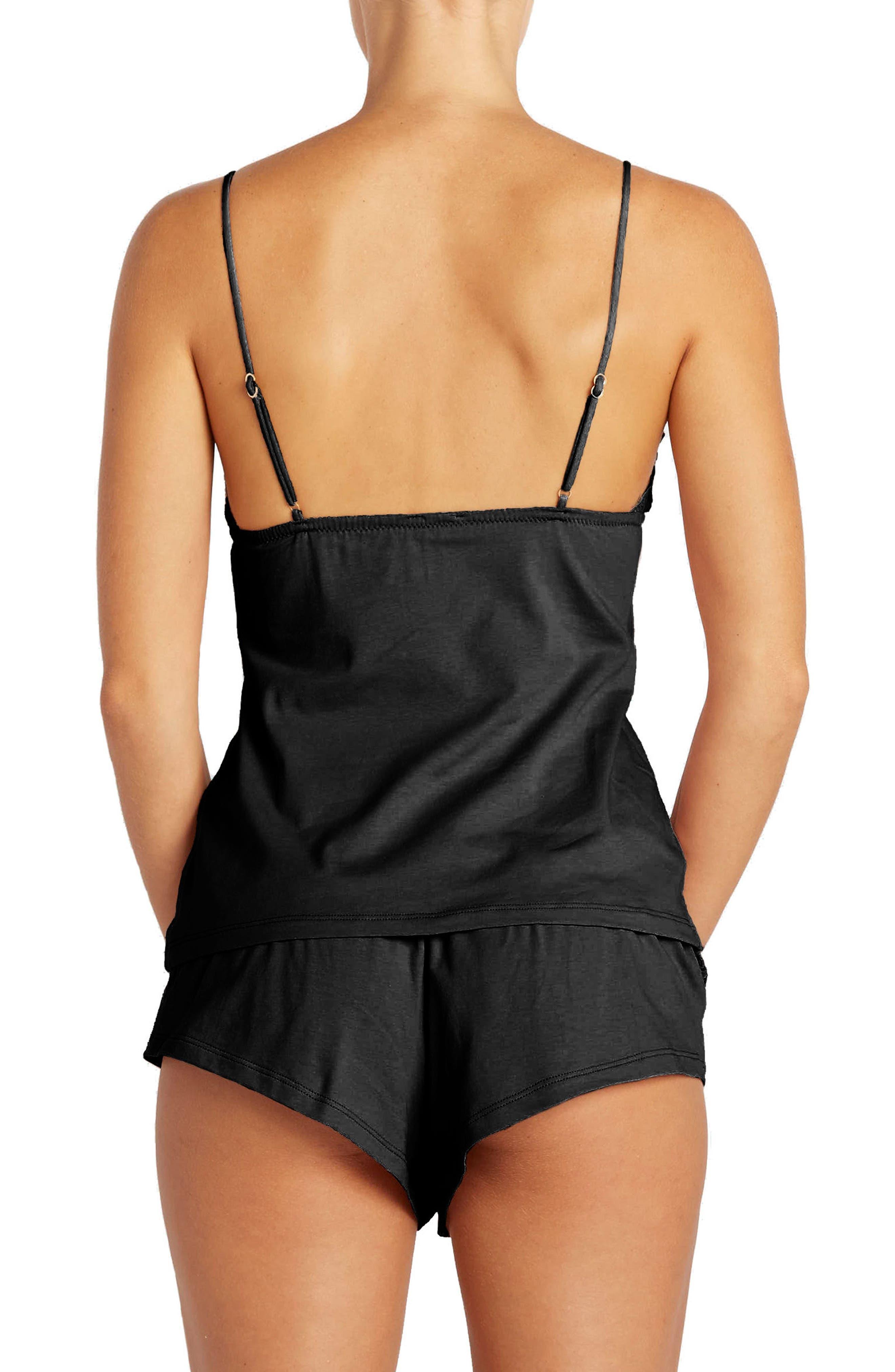 Bisou Lace-Up Camisole,                             Alternate thumbnail 2, color,                             BLACK