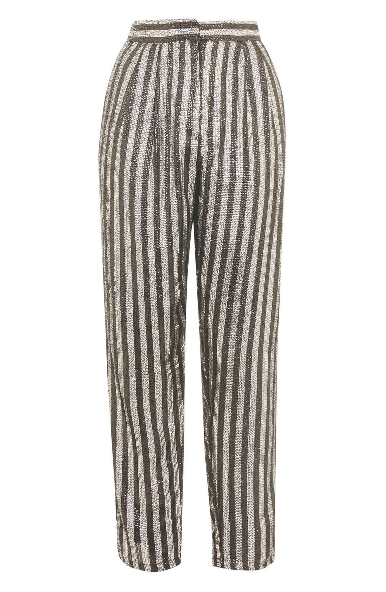 Sequin Stripe Mensy Trousers,                             Alternate thumbnail 4, color,                             001