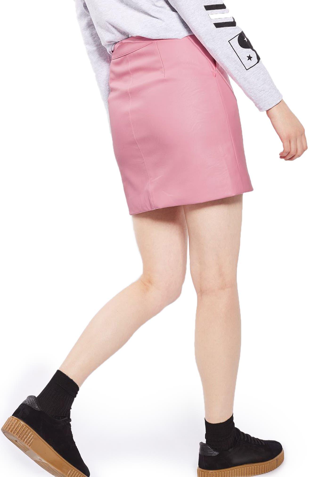 Faux Leather Pencil Skirt,                             Alternate thumbnail 8, color,