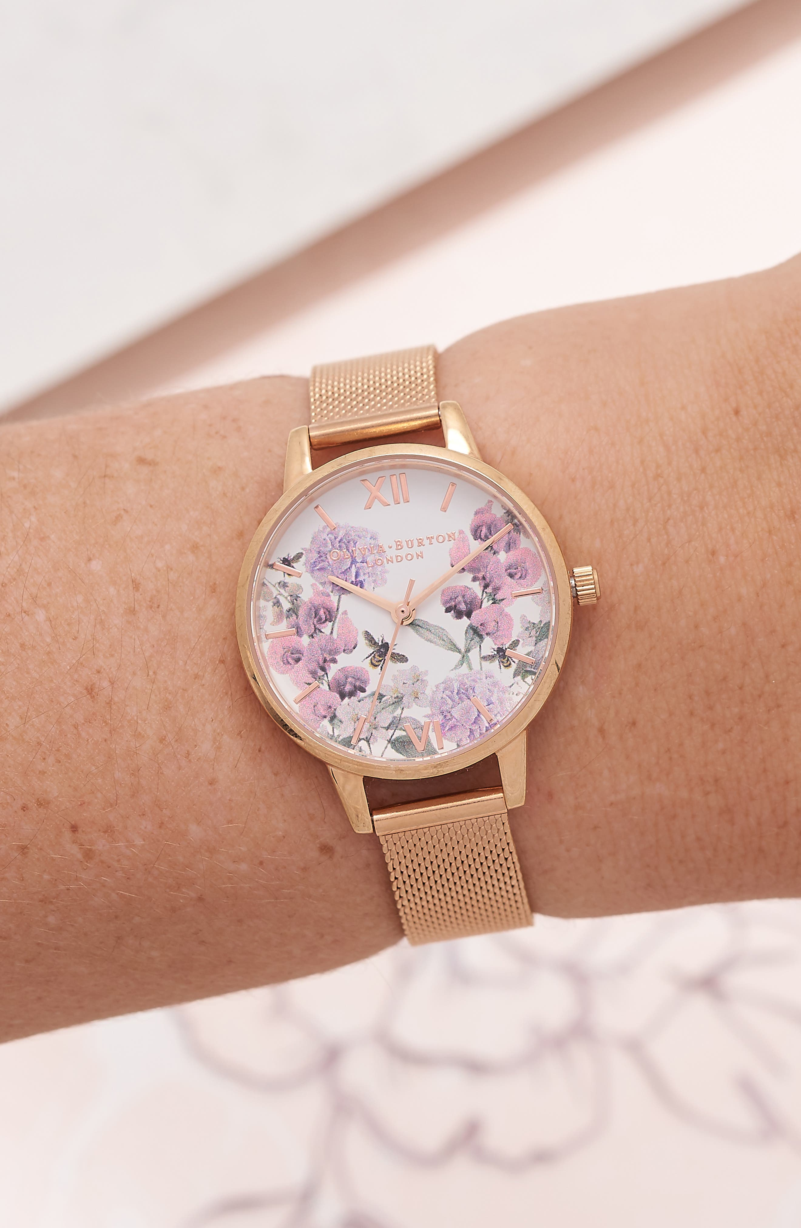 Enchanted Garden Bee Blooms Mesh Bracelet Watch, 30mm,                             Alternate thumbnail 2, color,                             710