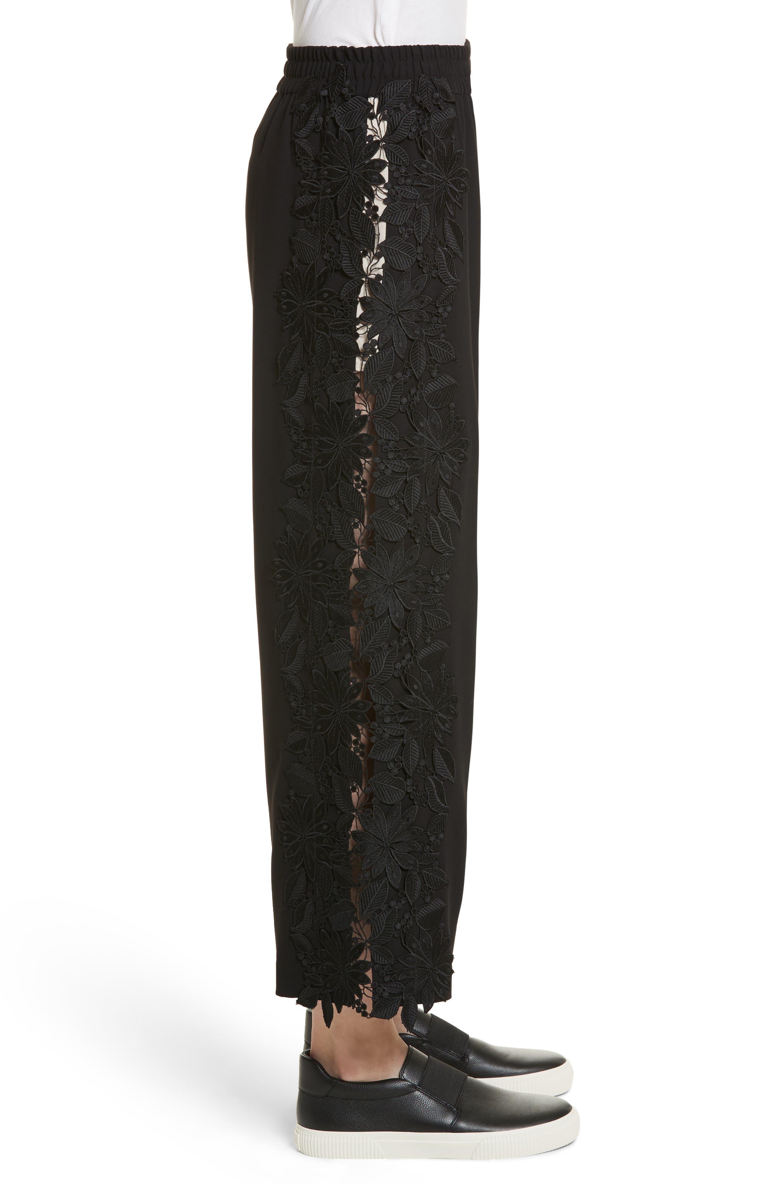 Benny Side Lace Crop Pants,                             Alternate thumbnail 3, color,                             001