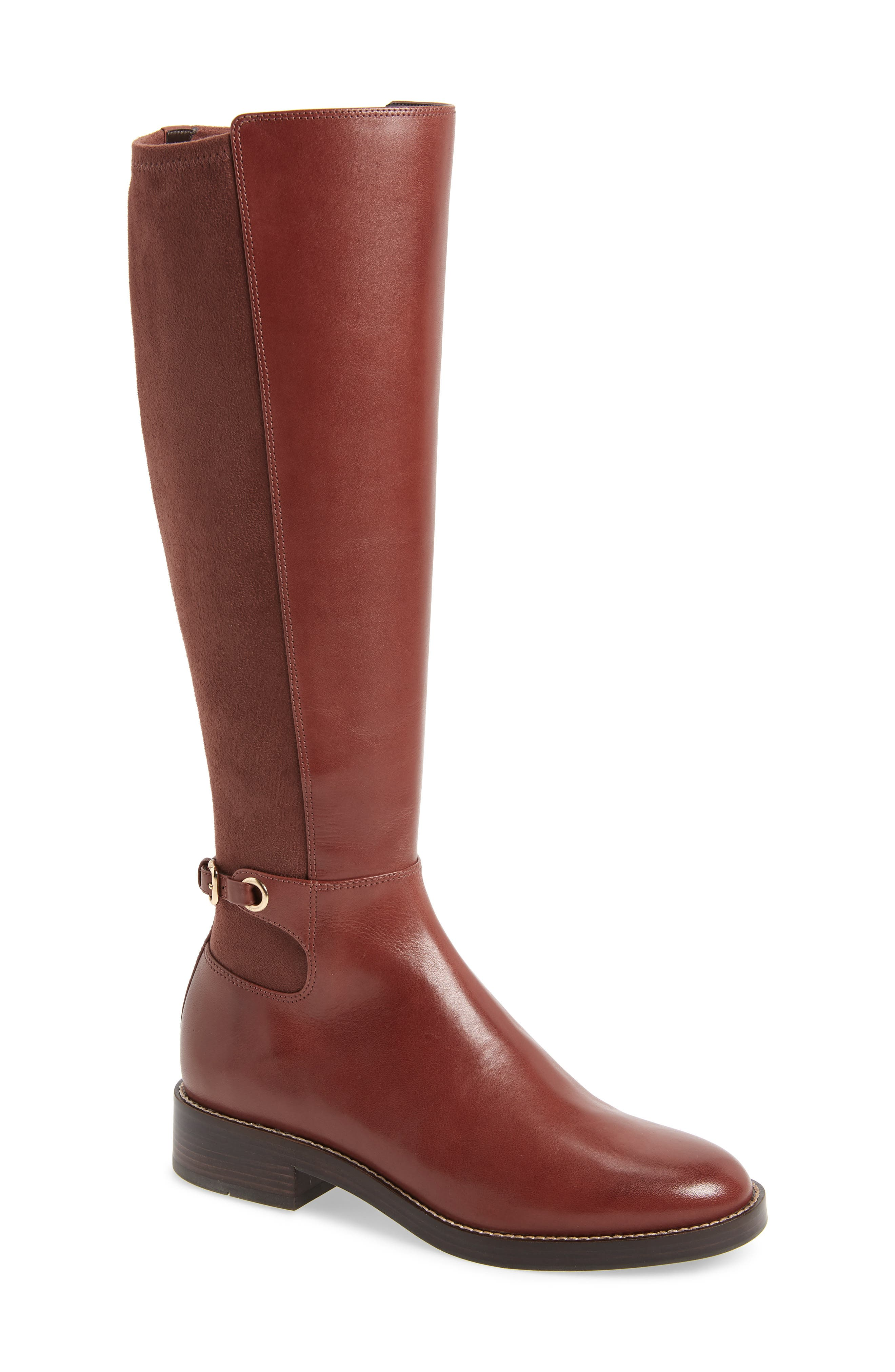 Parker Grand Stretch Knee High Boot,                             Main thumbnail 1, color,                             CHERRY MAHOGANY LEATHER