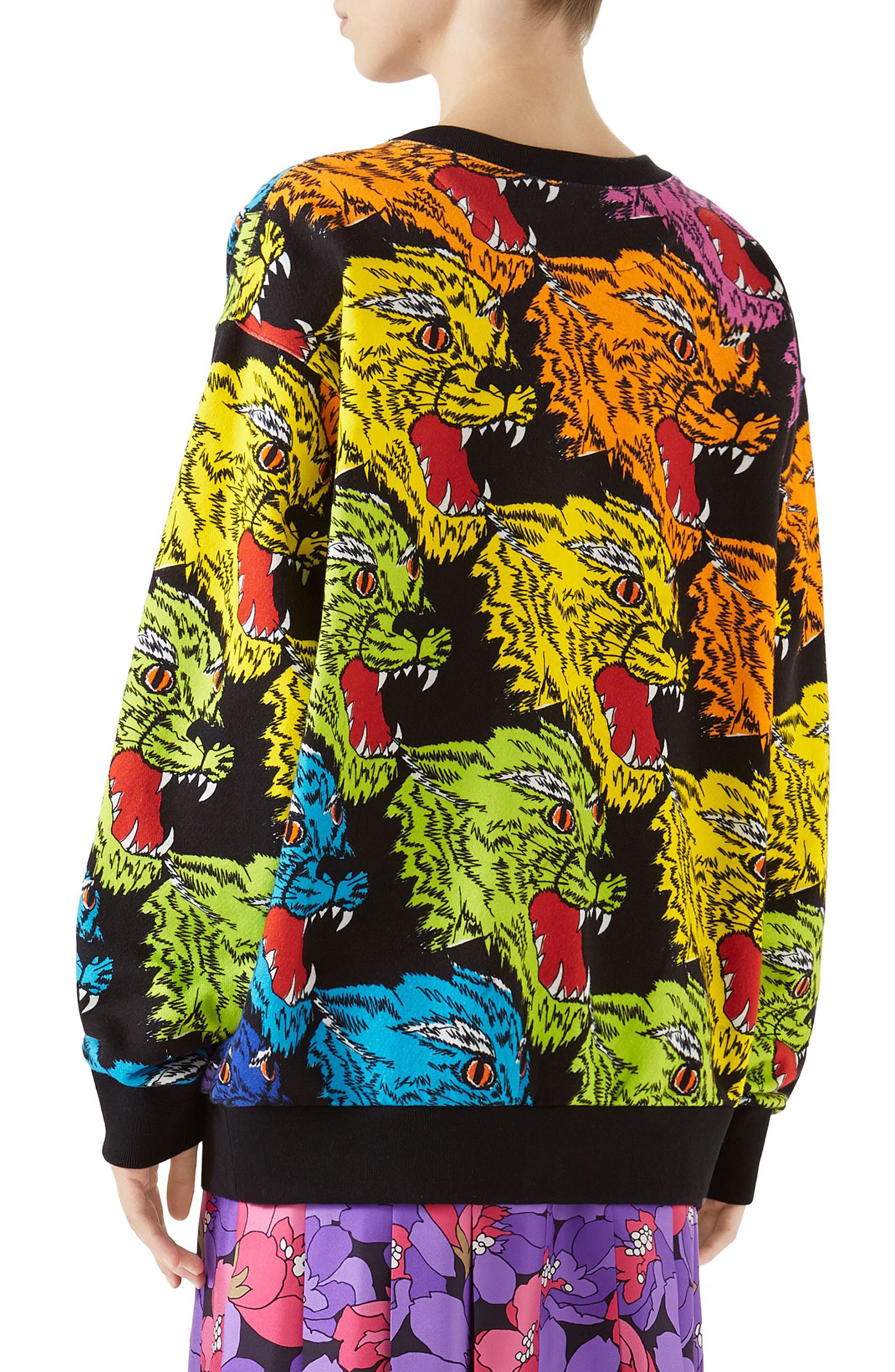 Multicolor Cat Sweatshirt,                             Alternate thumbnail 2, color,                             RAINBOW