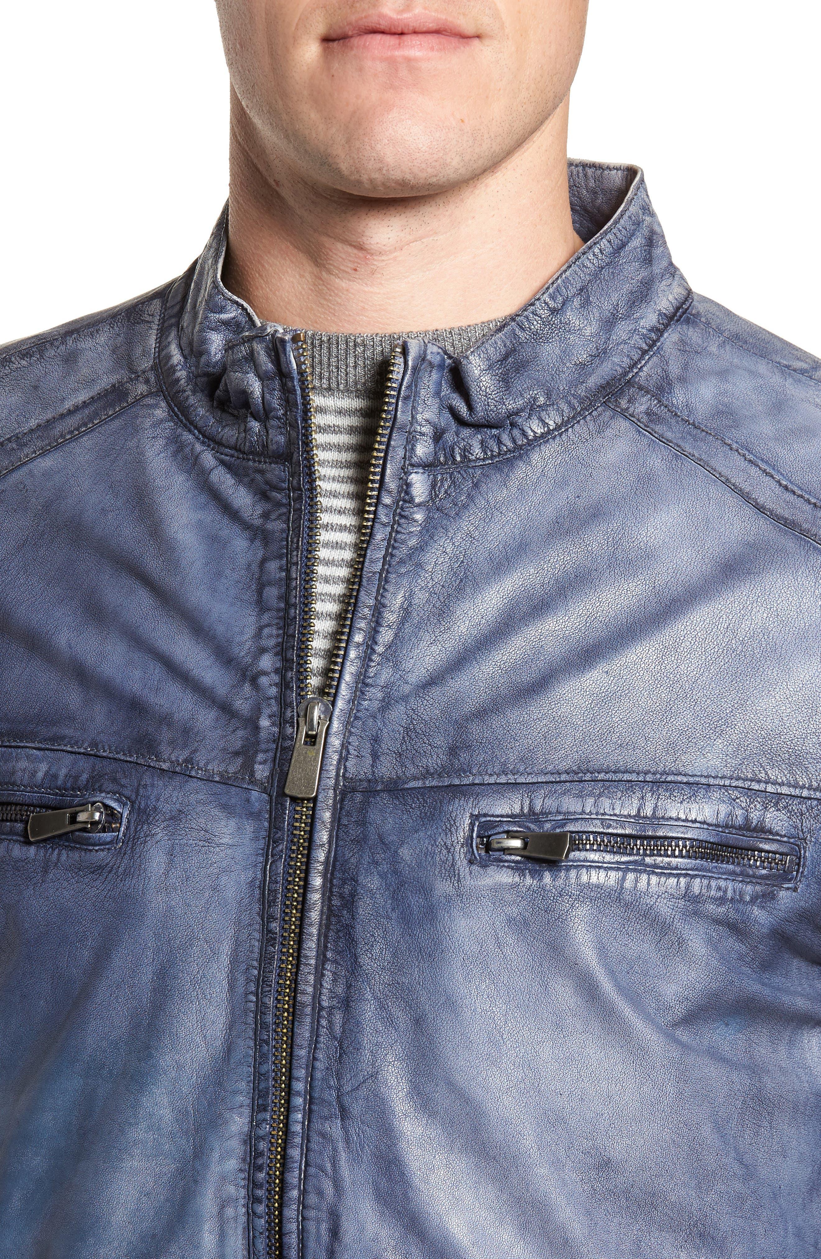 Abraded Washed Leather Jacket,                             Alternate thumbnail 4, color,                             450