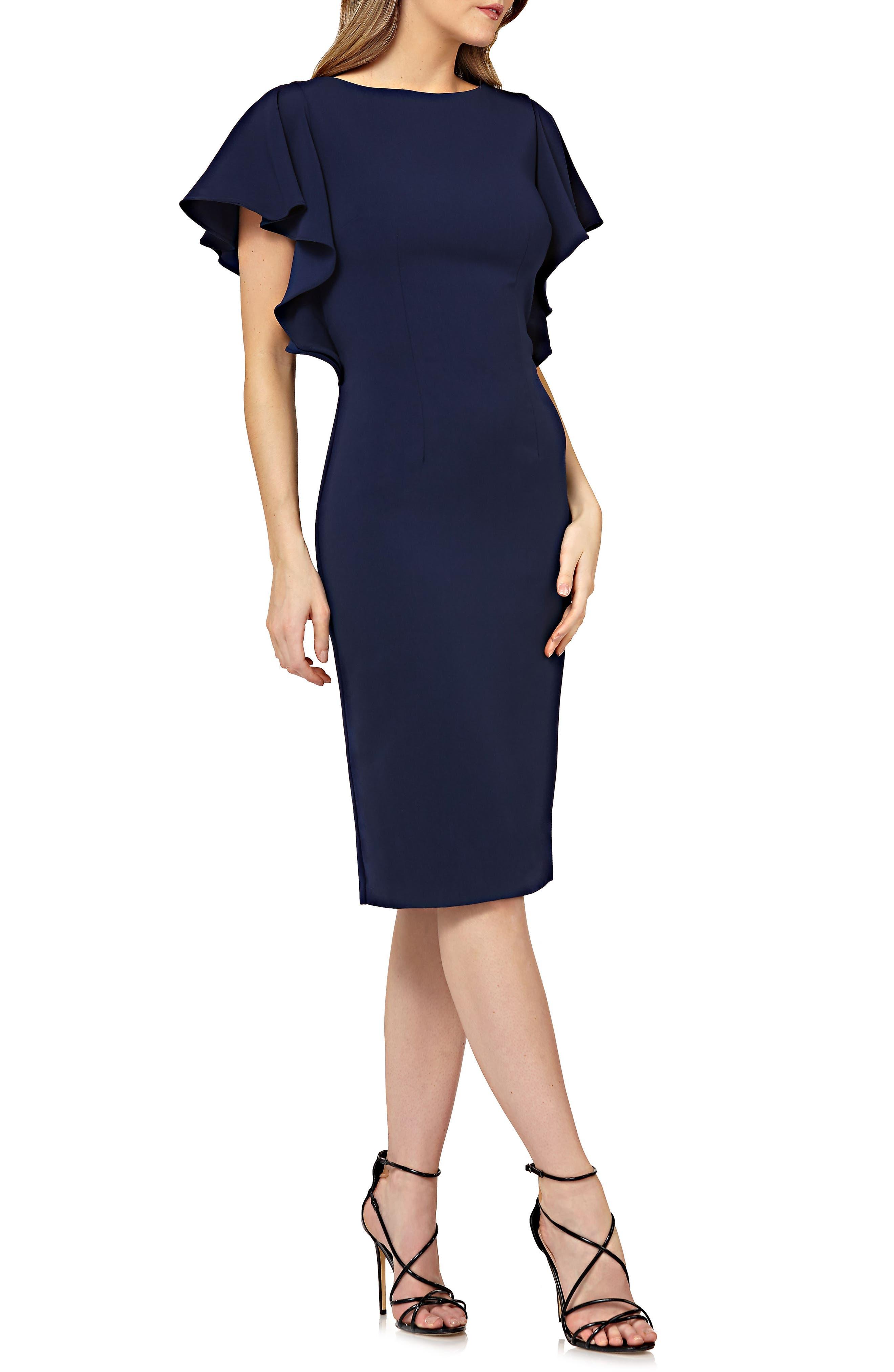 Carmen Marc Valvo Infusion Flutter Sleeve Sheath Dress, Blue