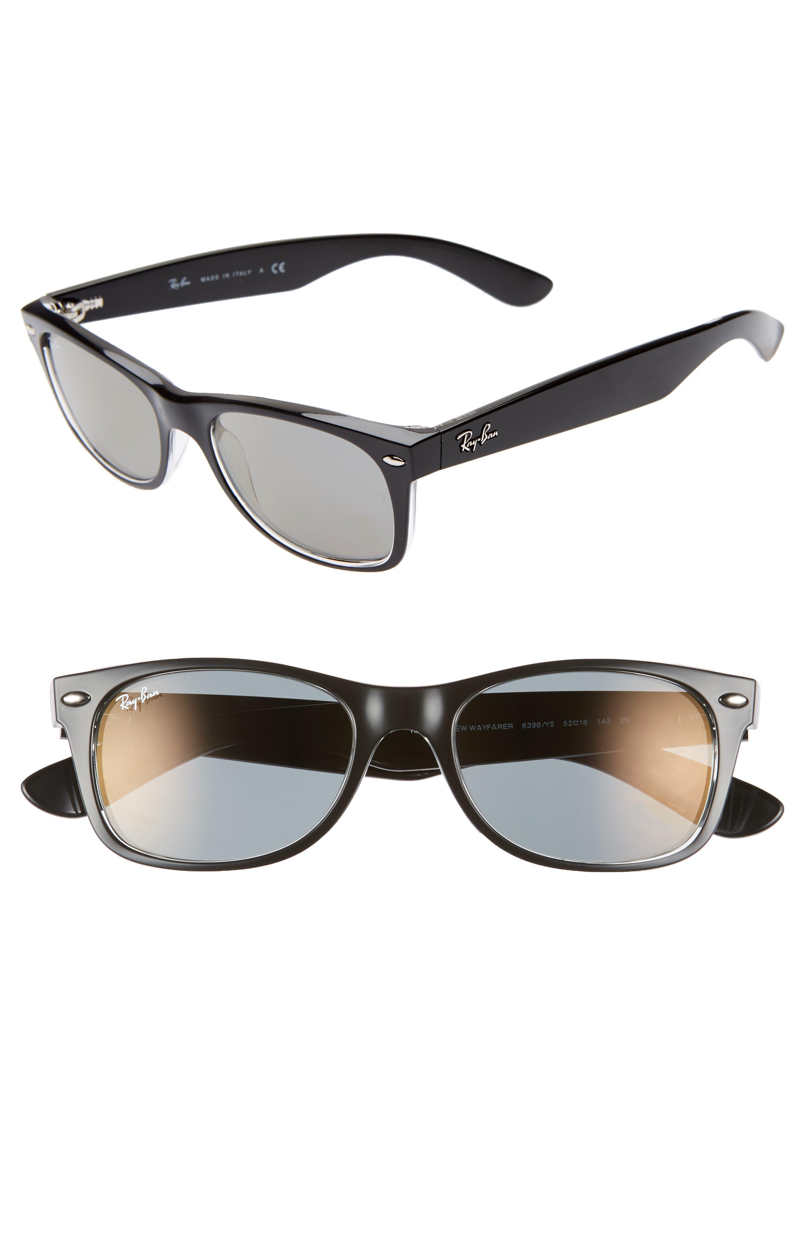 Ray-Ban New Wayfarer Classic 52Mm Sunglasses - Transparent Black Mirror
