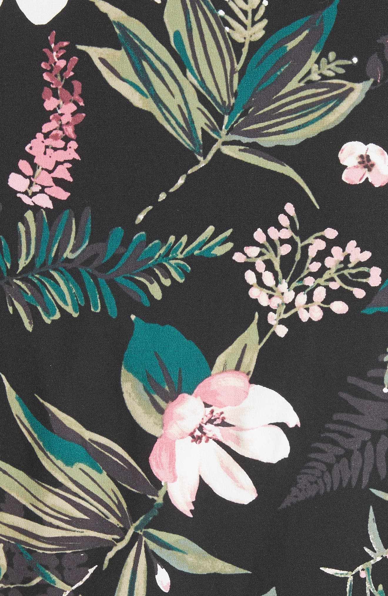 botanical poplin shirtdress,                             Alternate thumbnail 5, color,                             001
