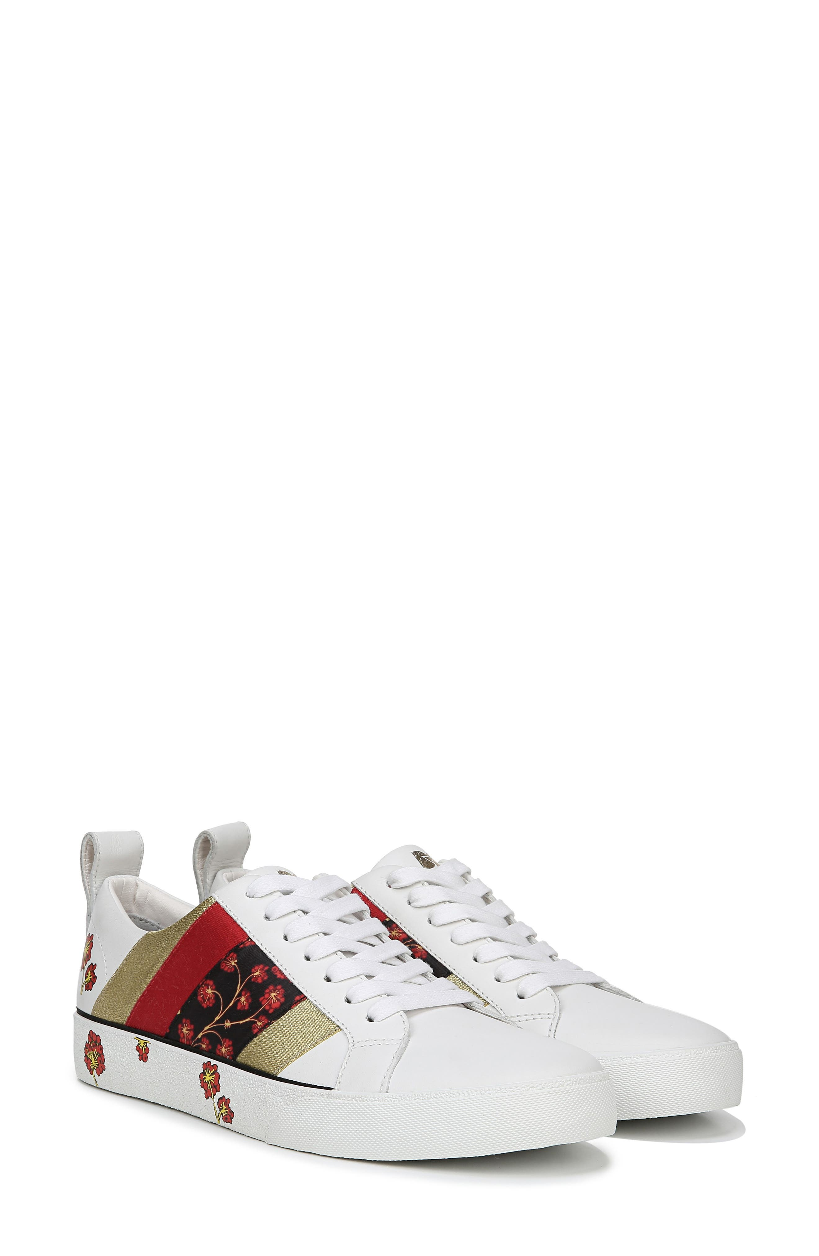 Tess Lace-Up Sneaker,                             Alternate thumbnail 9, color,                             WHITE/ RED