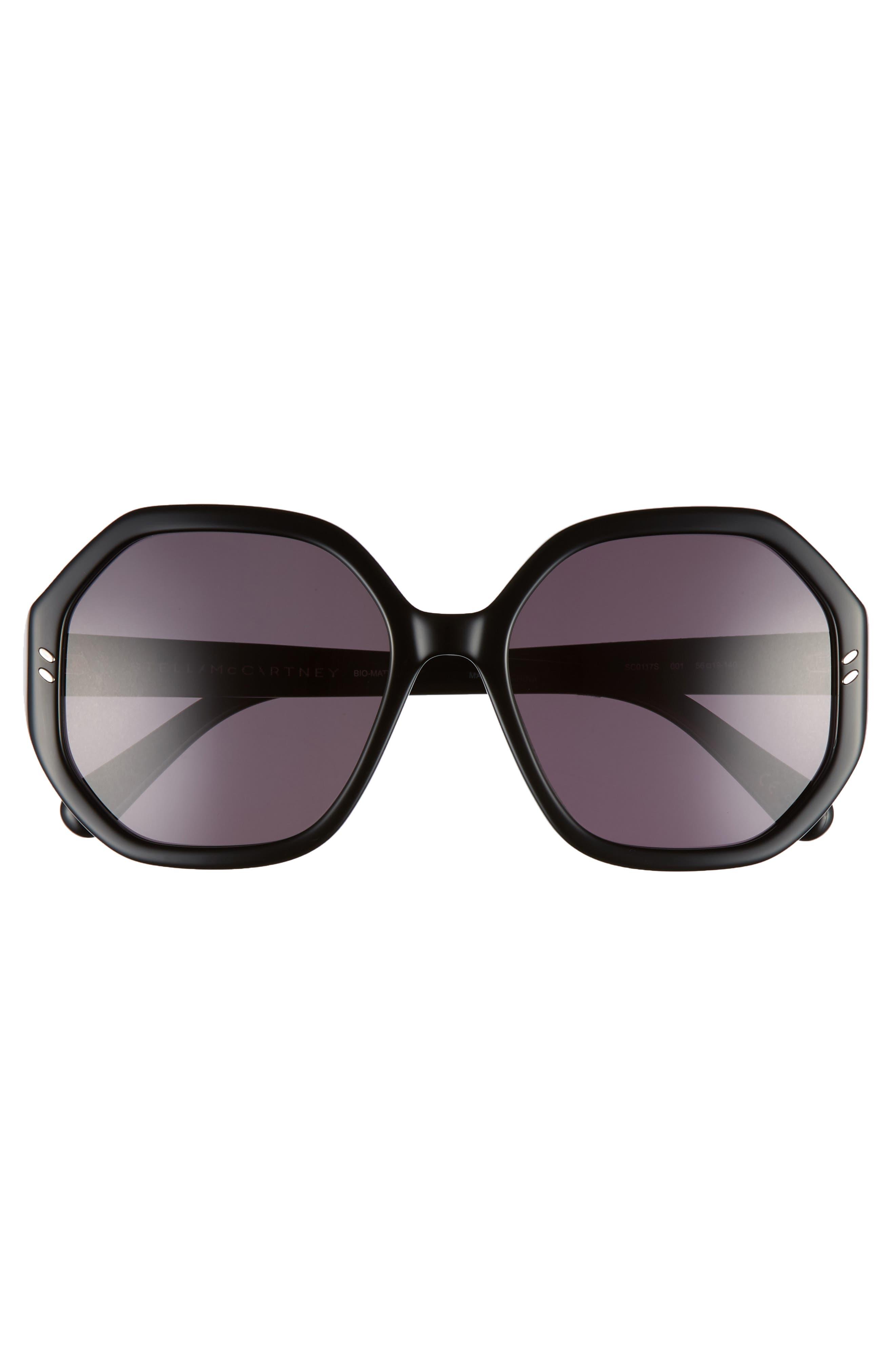 56mm Hexagonal Sunglasses,                             Alternate thumbnail 3, color,                             BLACK