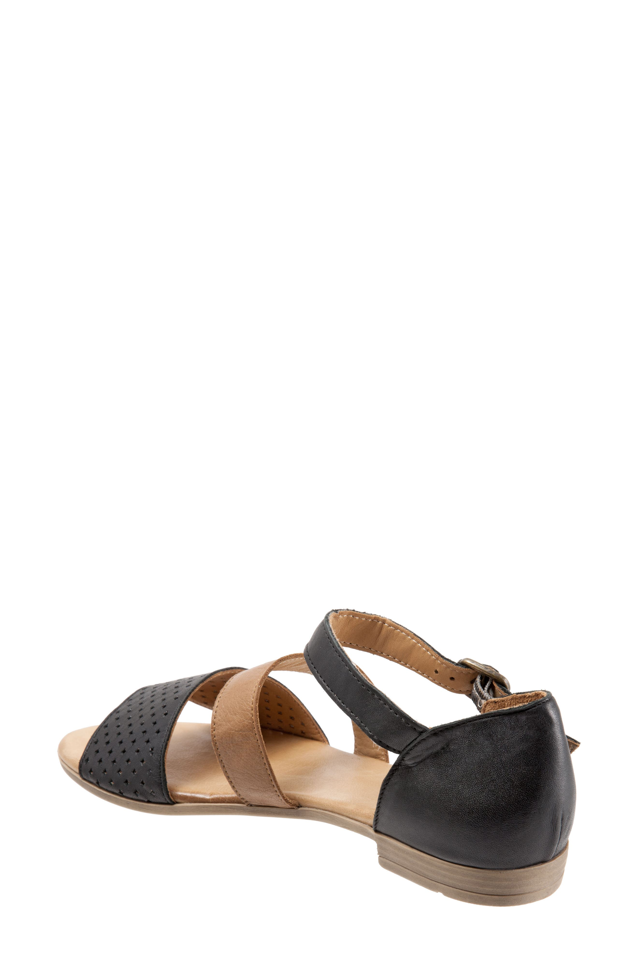 Janet Perforated Flat Sandal,                             Alternate thumbnail 2, color,                             BLACK LEATHER