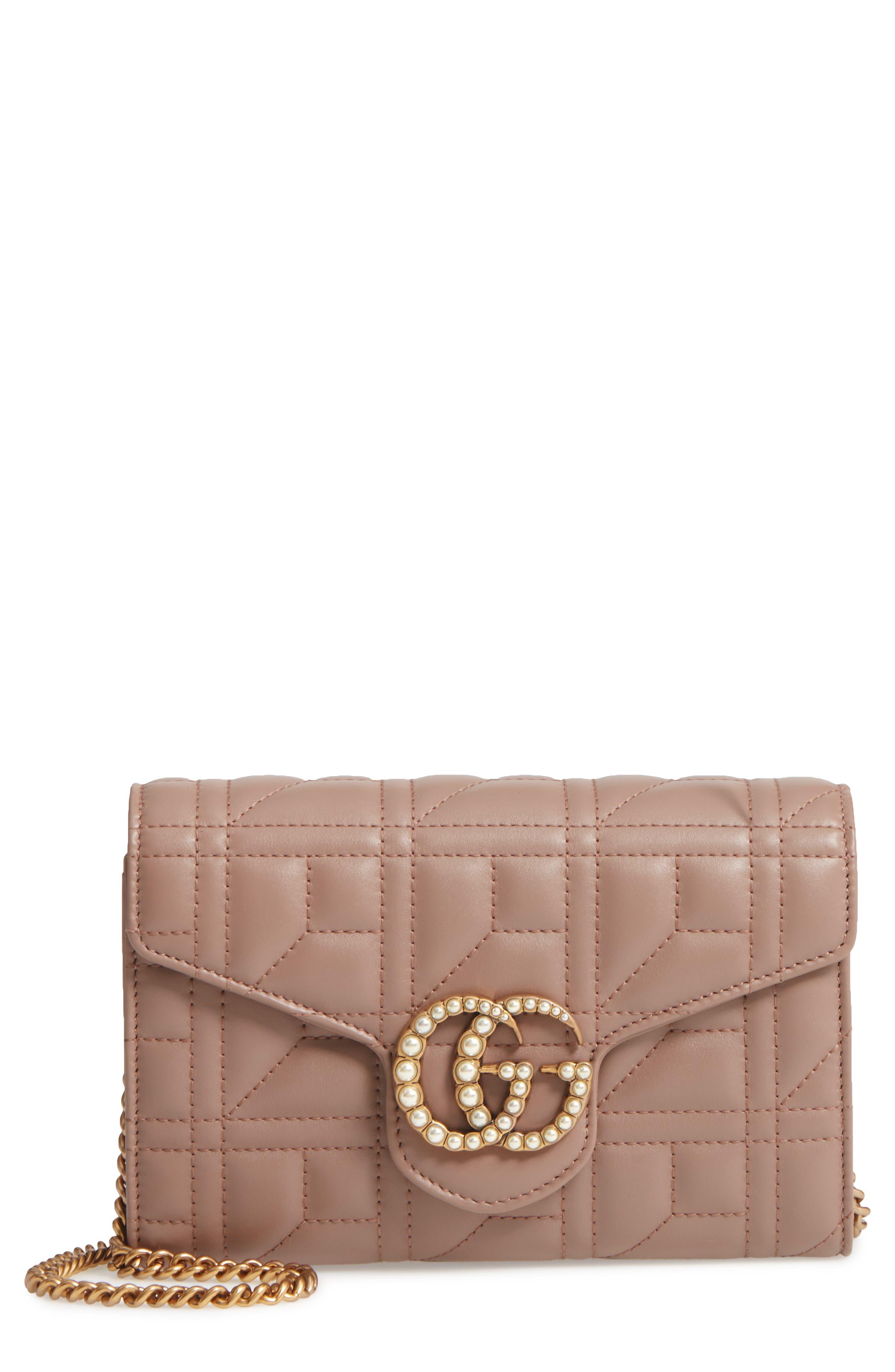 GG Marmont Matelassé Leather Wallet on a Chain,                             Main thumbnail 1, color,                             636