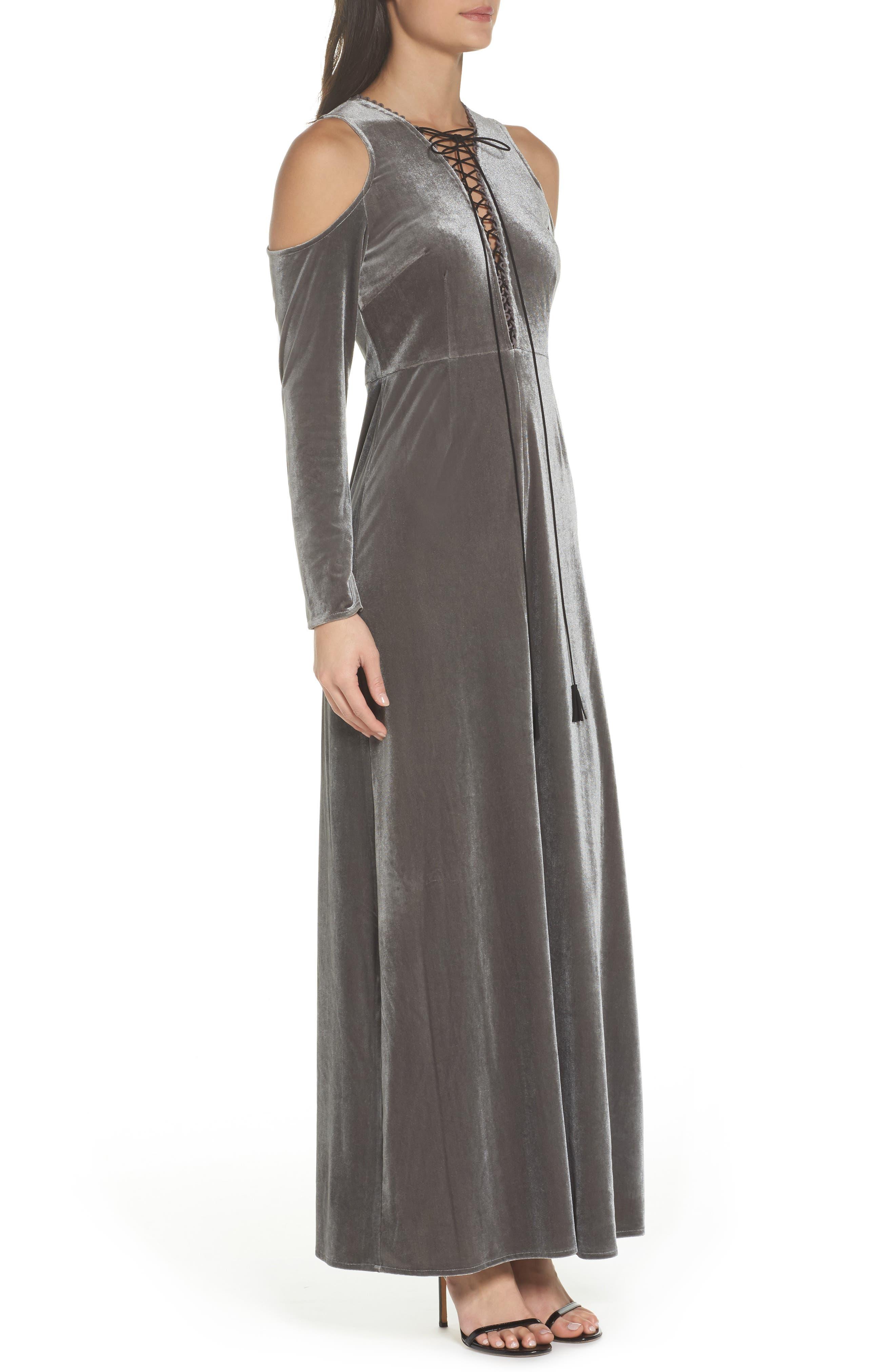 Velvet Lace Up Dress,                             Alternate thumbnail 3, color,                             039