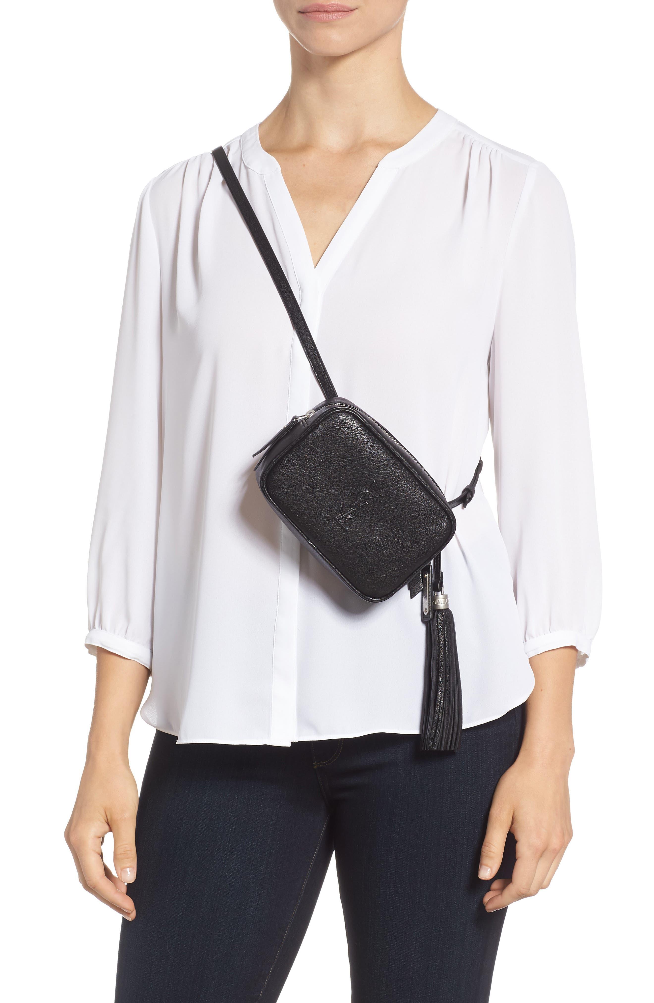Loulou Tassel Leather Belt Bag,                             Alternate thumbnail 4, color,                             001