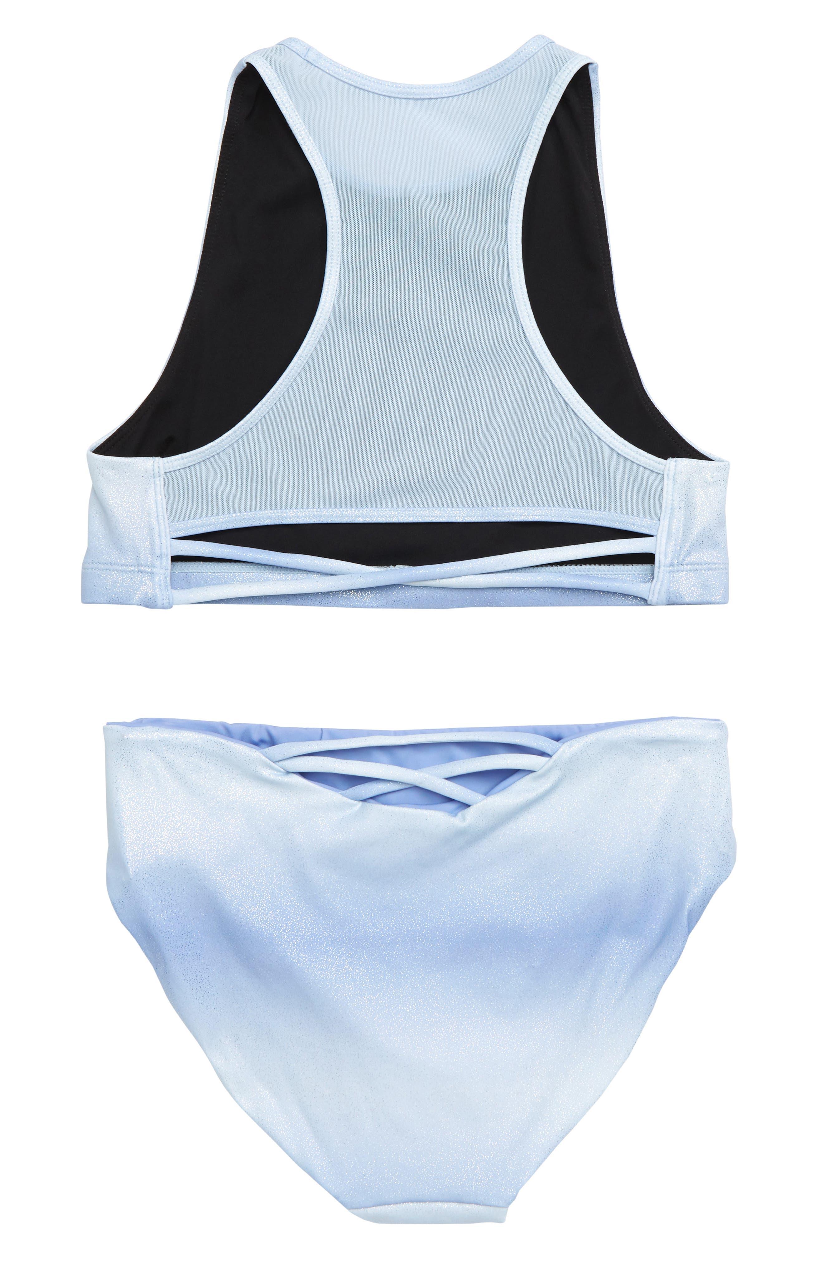 Two-Piece Racerback Swimsuit,                             Alternate thumbnail 3, color,                             BLUE HAZE OMBRE