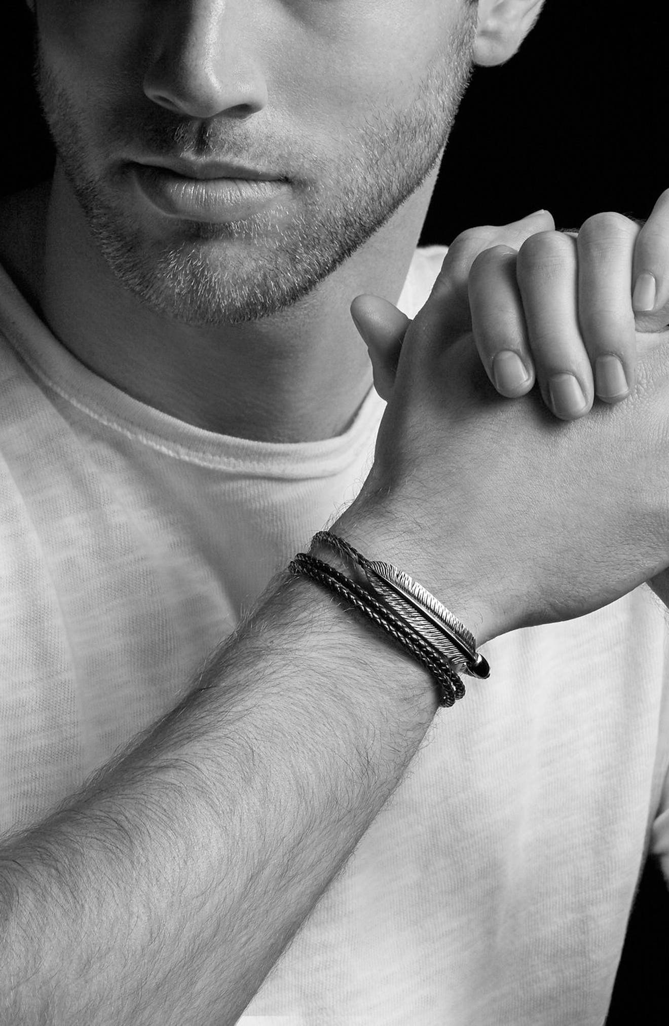 Southwest Triple-Wrap Bracelet in Black Leather,                             Alternate thumbnail 2, color,                             002