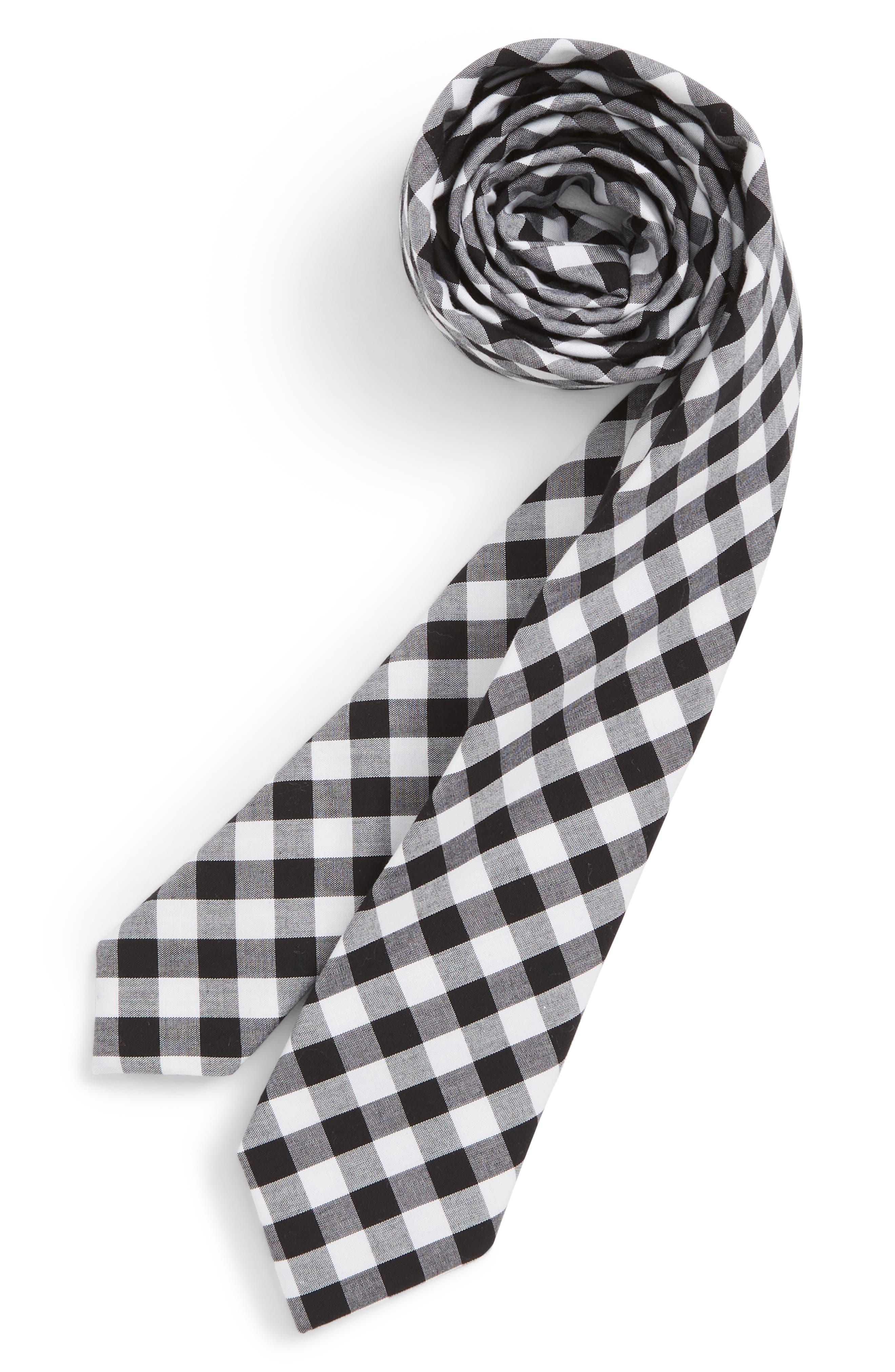 Check Cotton Tie,                             Main thumbnail 1, color,                             BLACK