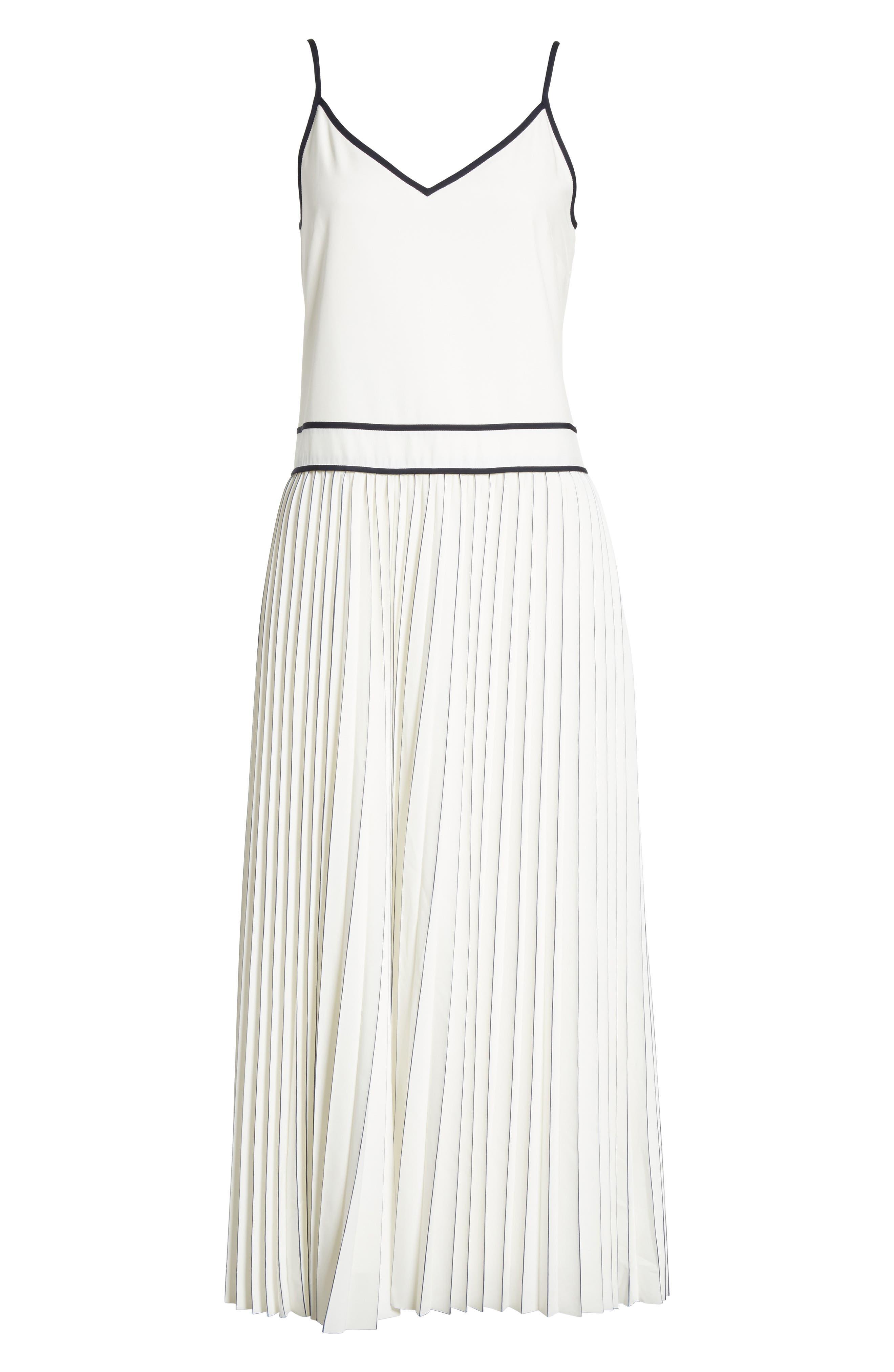 Silk Pleated Skirt Midi Dress,                             Alternate thumbnail 6, color,                             129