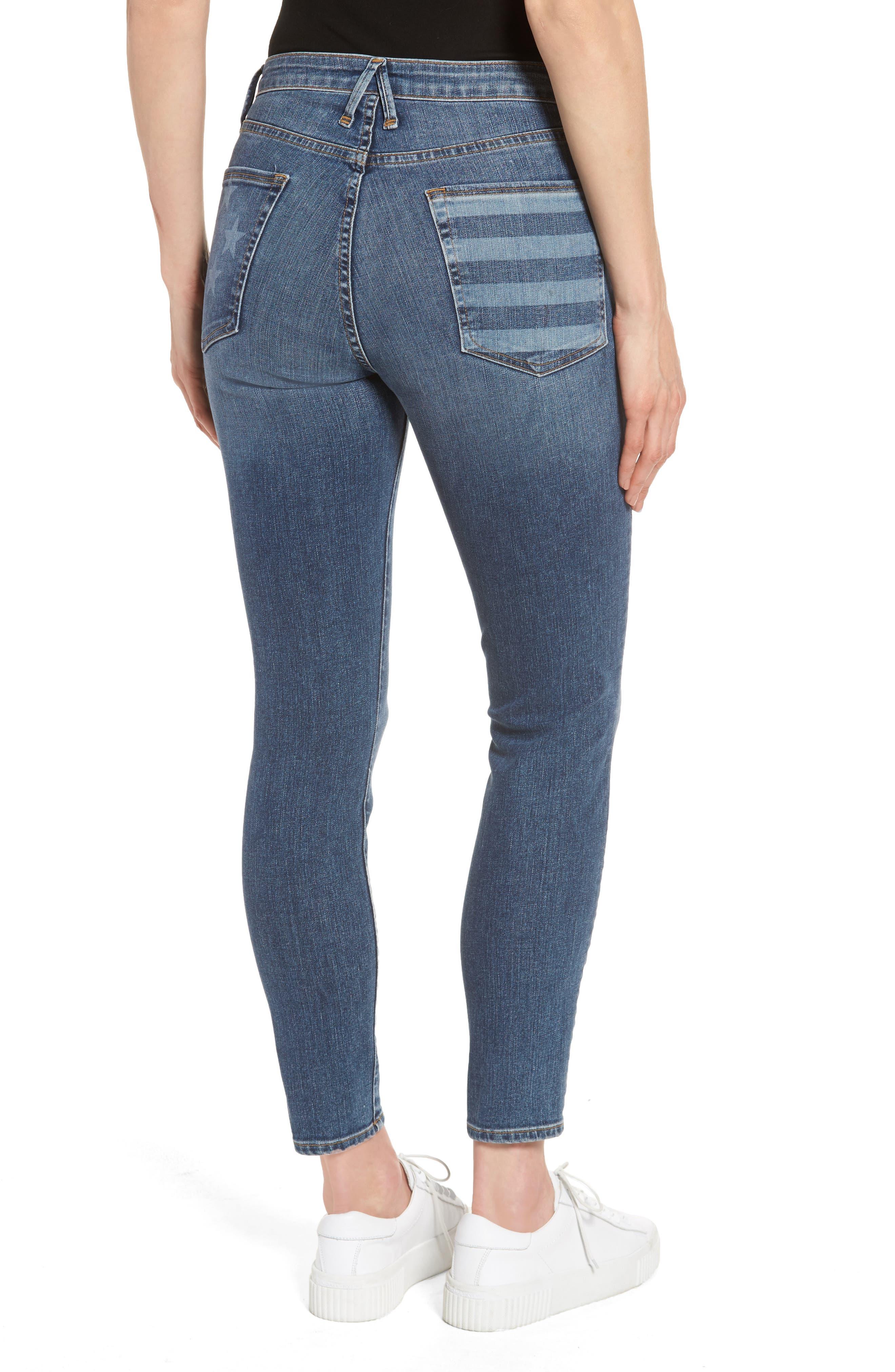 Good Legs High Waist American Flag Crop Skinny Jeans,                             Alternate thumbnail 2, color,
