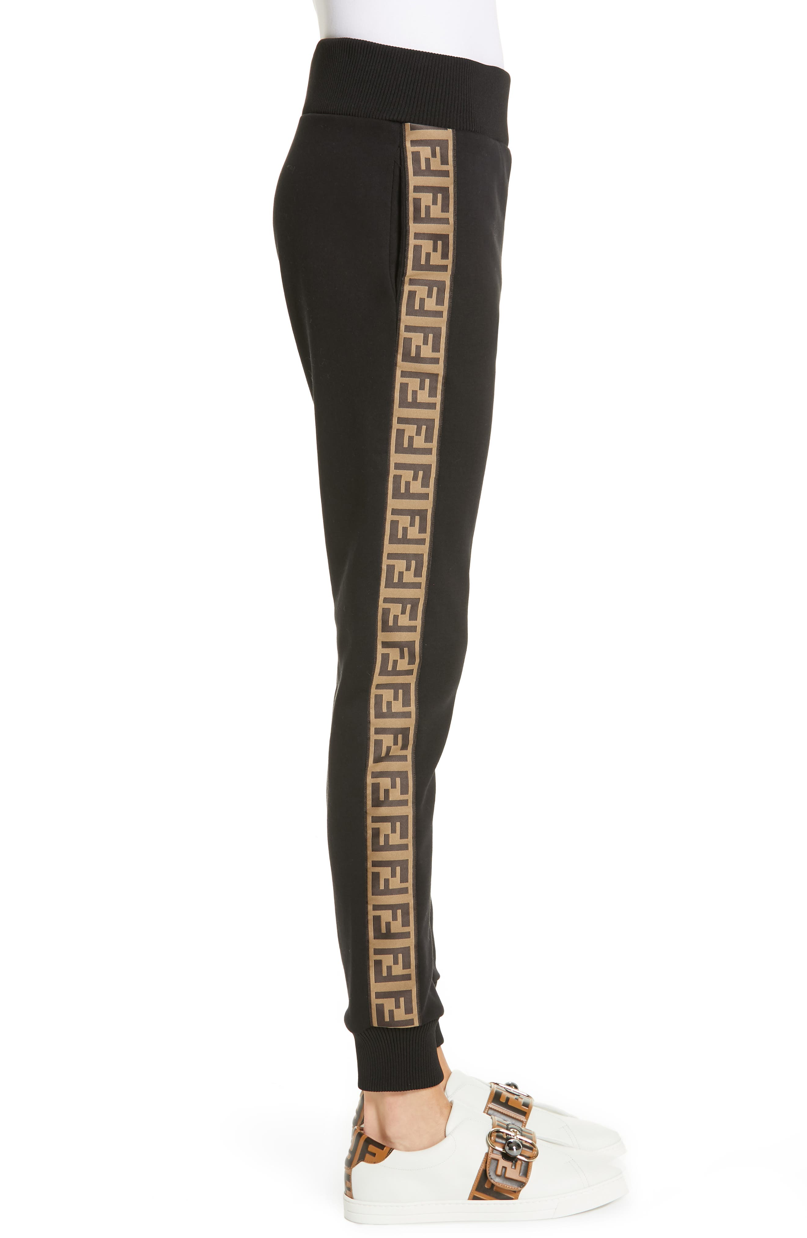 FENDI,                             x FILA Mania Logo Jersey Track Pants,                             Alternate thumbnail 3, color,                             BLACK