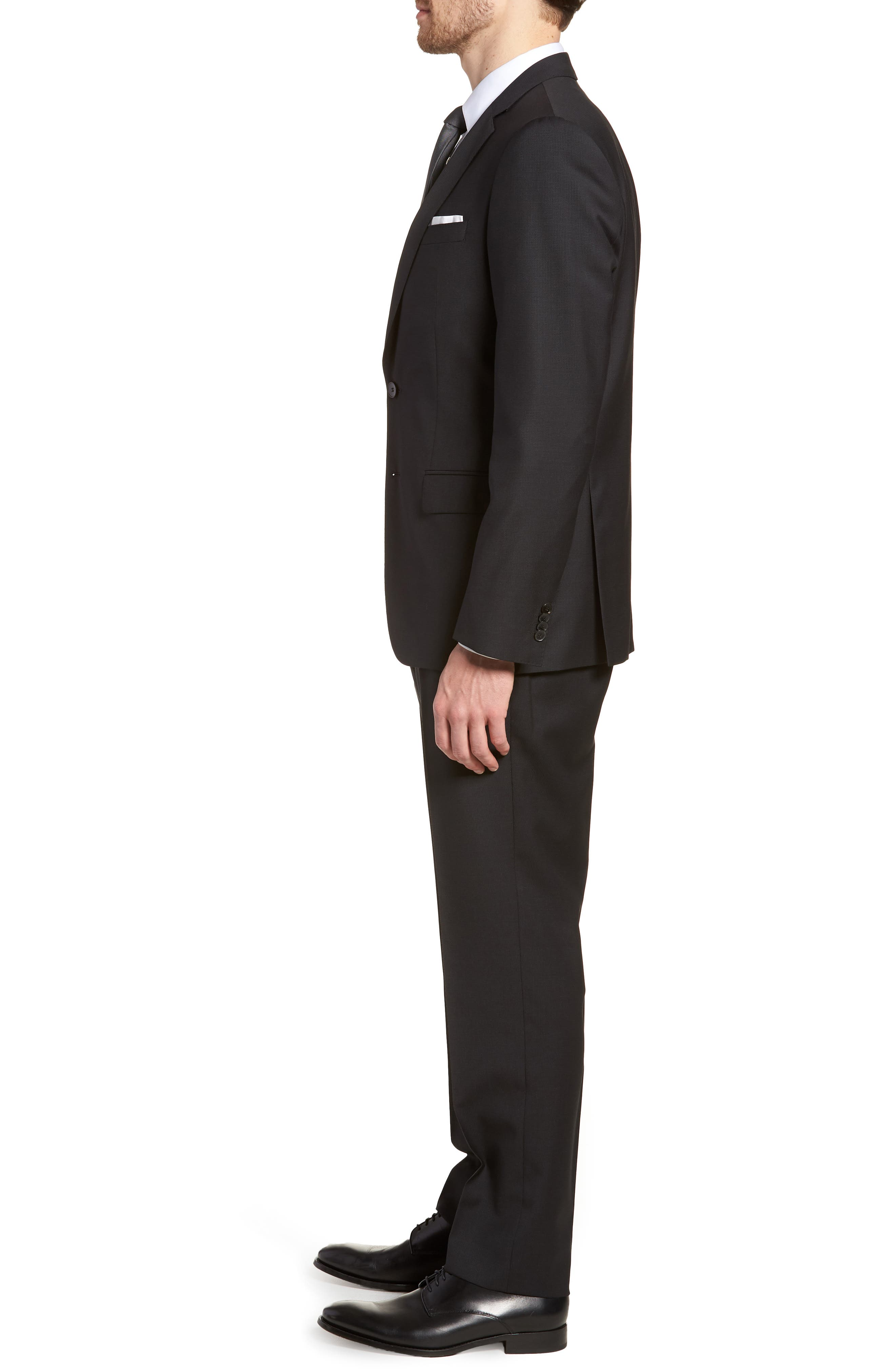'Huge/Genius' Trim Fit Solid Wool Suit,                             Alternate thumbnail 3, color,                             BLACK