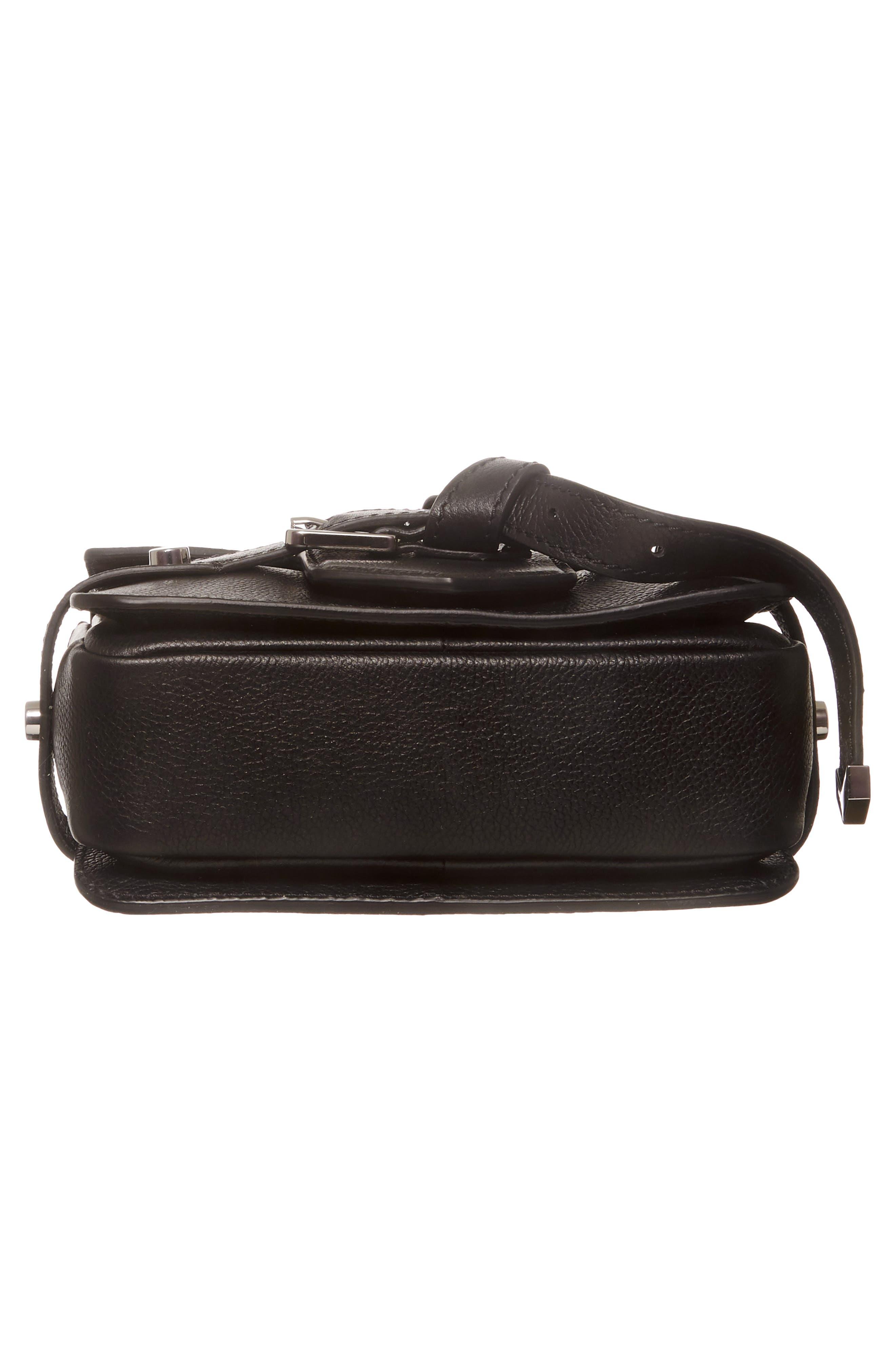 Lexi Grained Leather Crossbody Bag,                             Alternate thumbnail 6, color,                             BLACK