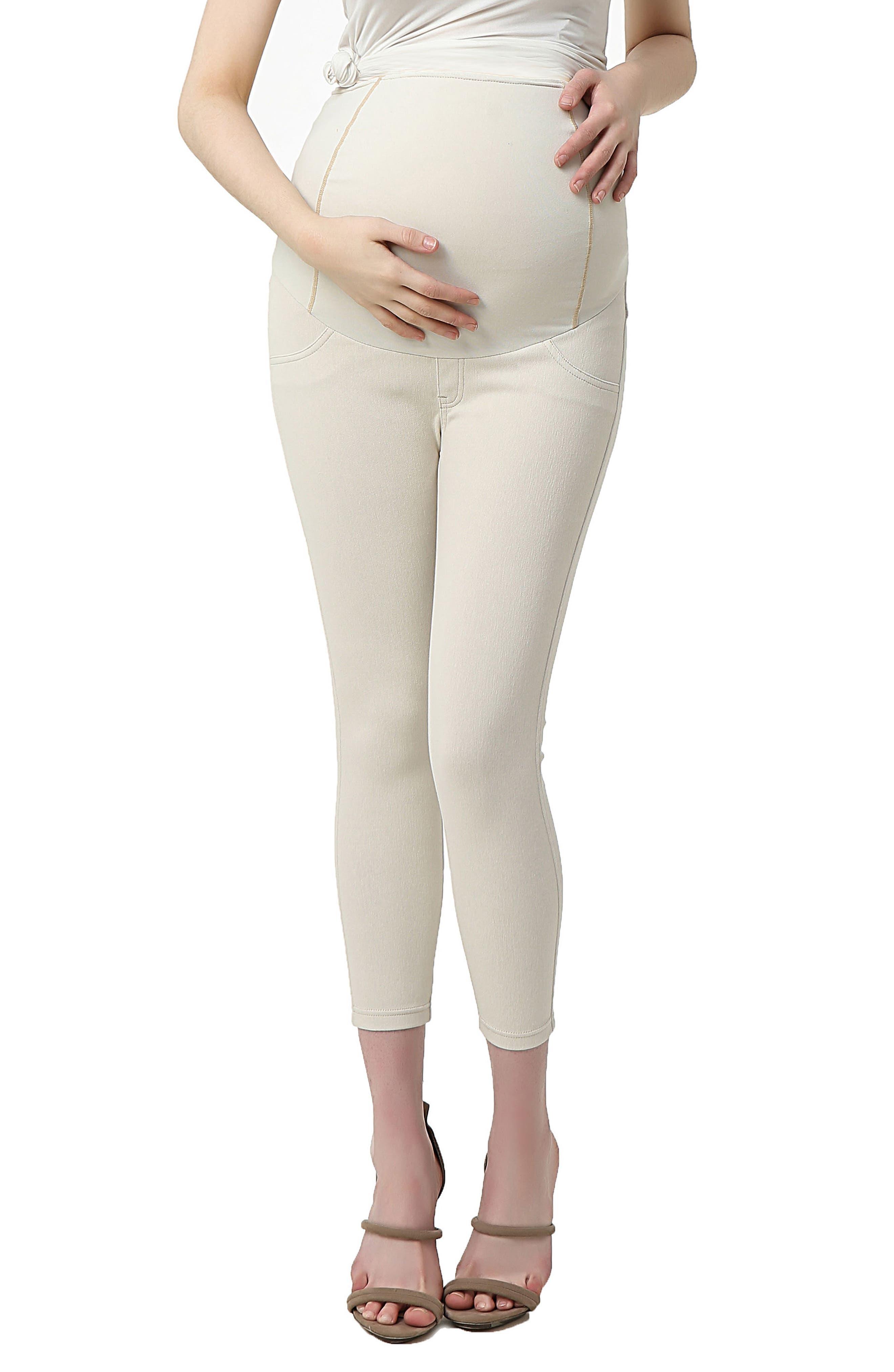 Kimi And Kai Tia Cropped Denim Maternity Leggings, Beige