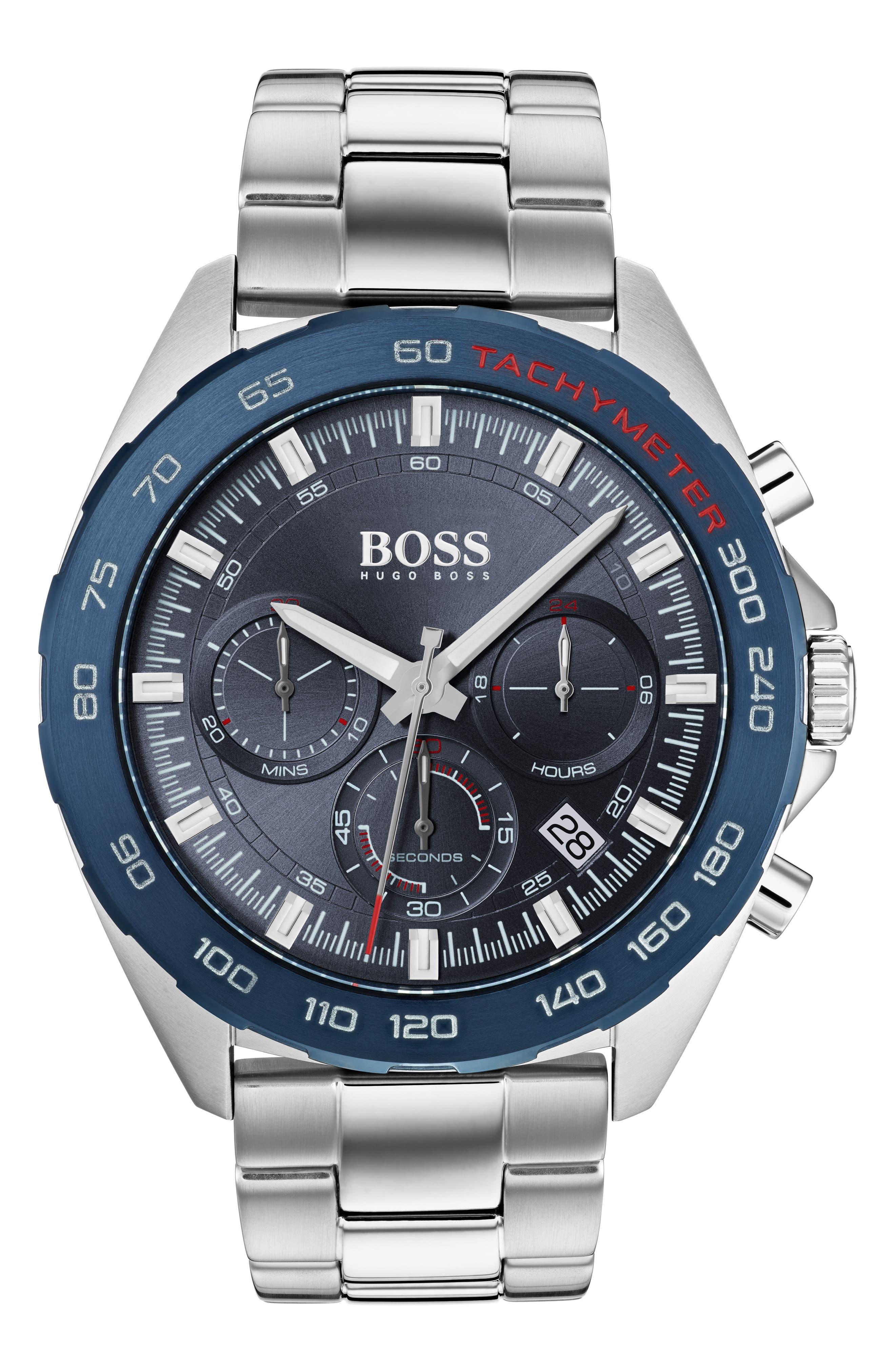 Intensity Chronograph Bracelet Watch, 44mm, Main, color, BLUE